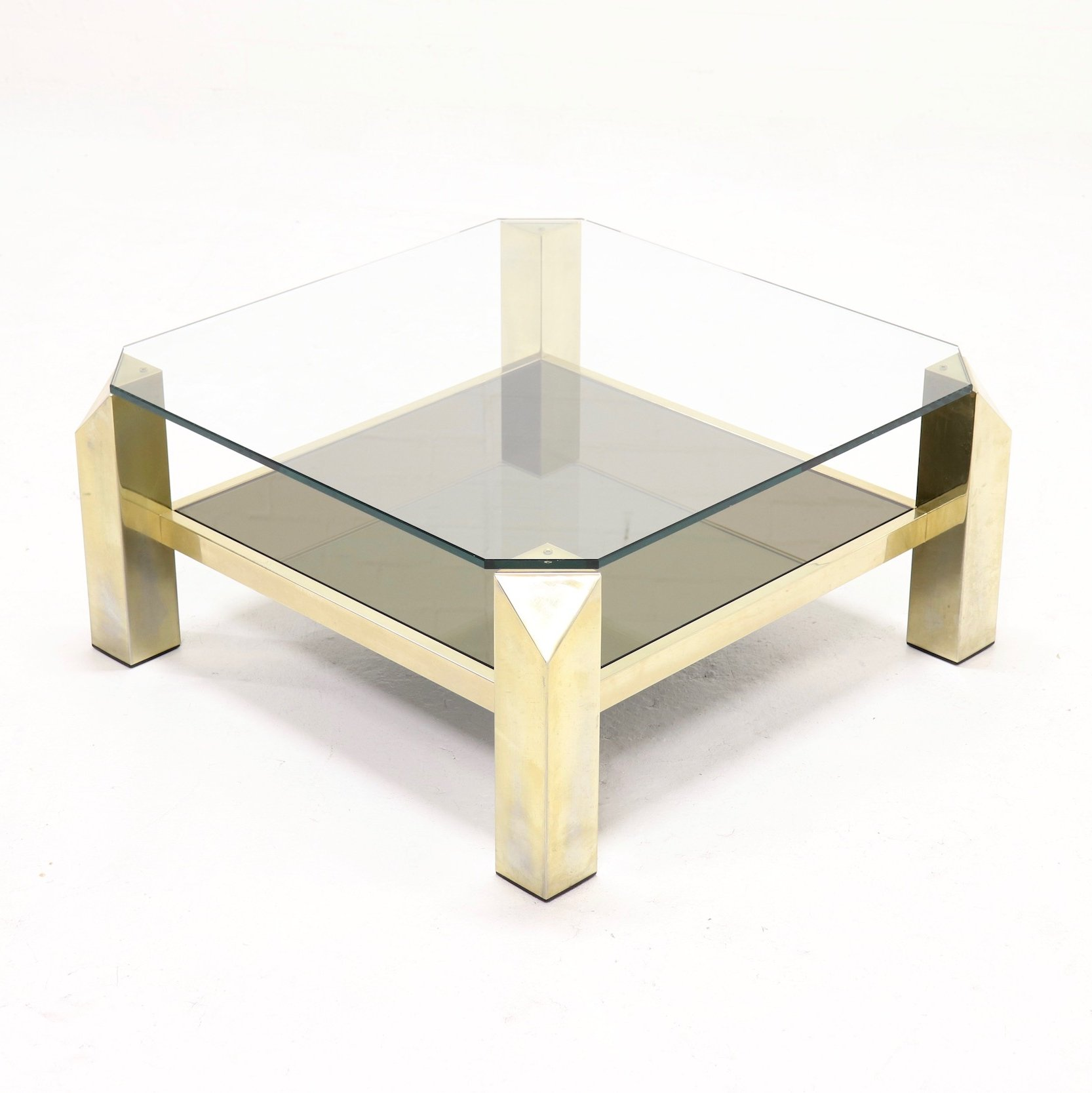 Gold Plated Coffee Table: 23k Gold Plated Coffee Table By Belgo Chrome, 1970s