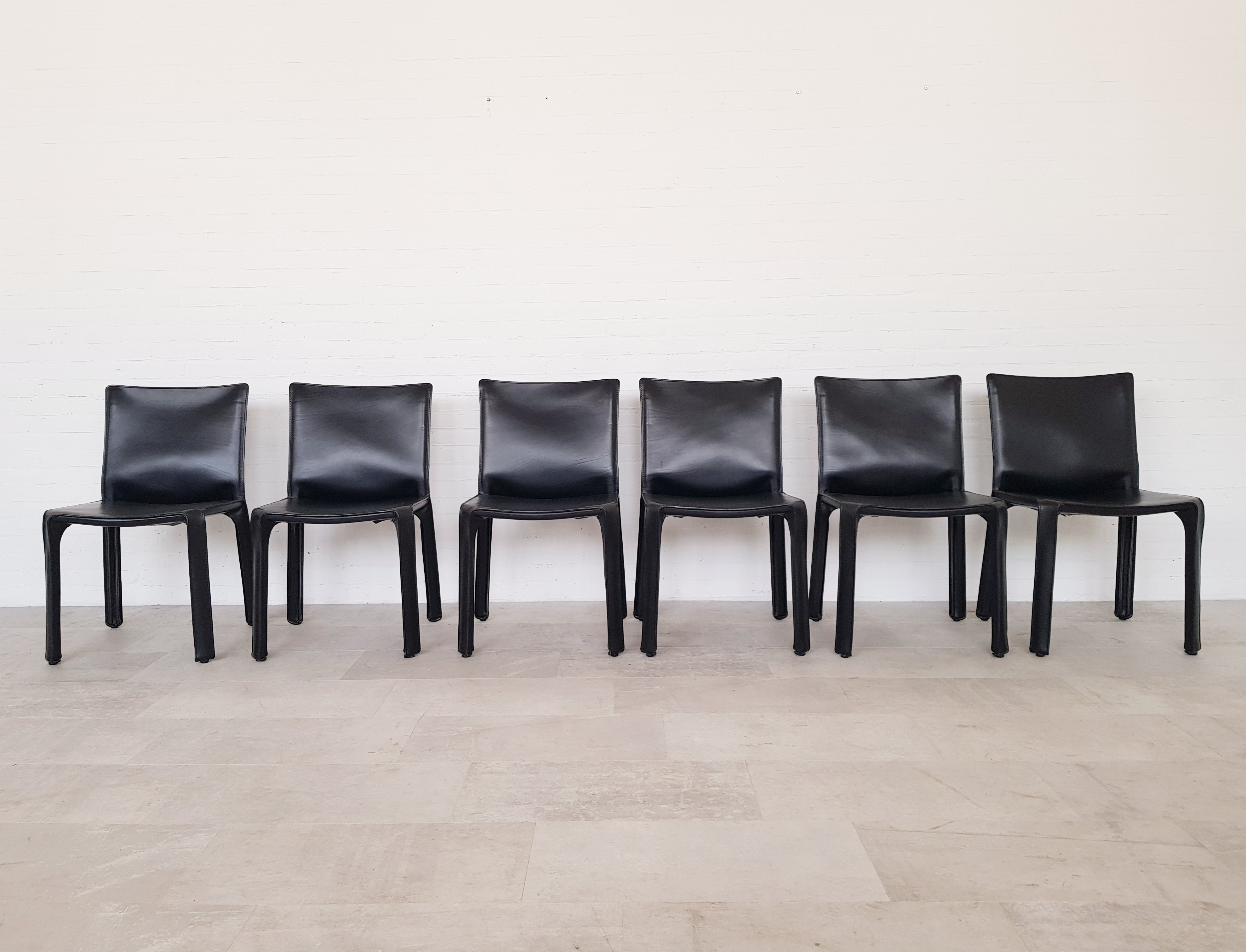 Excellent Set Of 6 Black Leather Cassina Cab Chairs By Mario Bellini Ocoug Best Dining Table And Chair Ideas Images Ocougorg