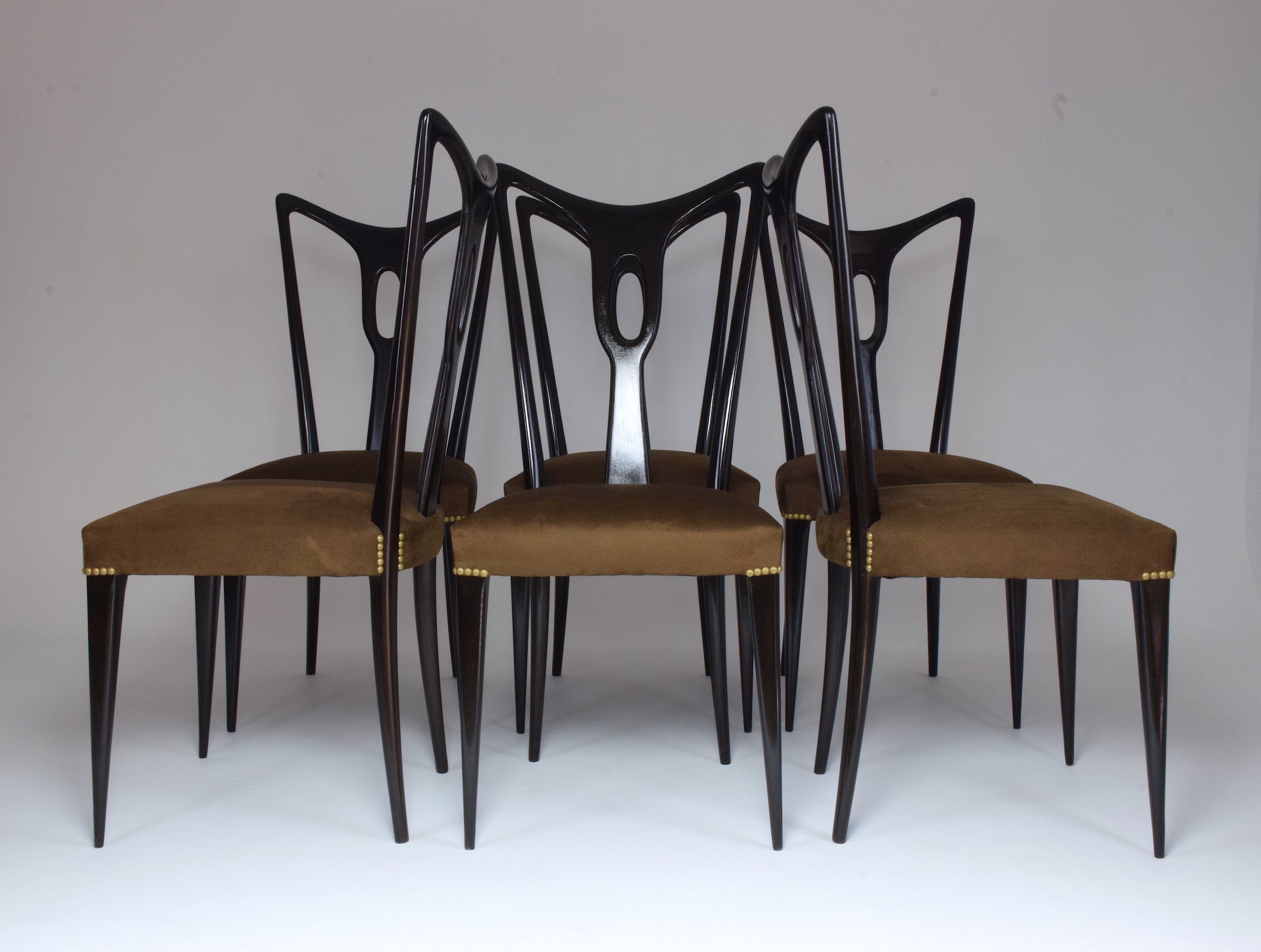 Set of 6 Italian Vintage Dining Chairs, 1940's