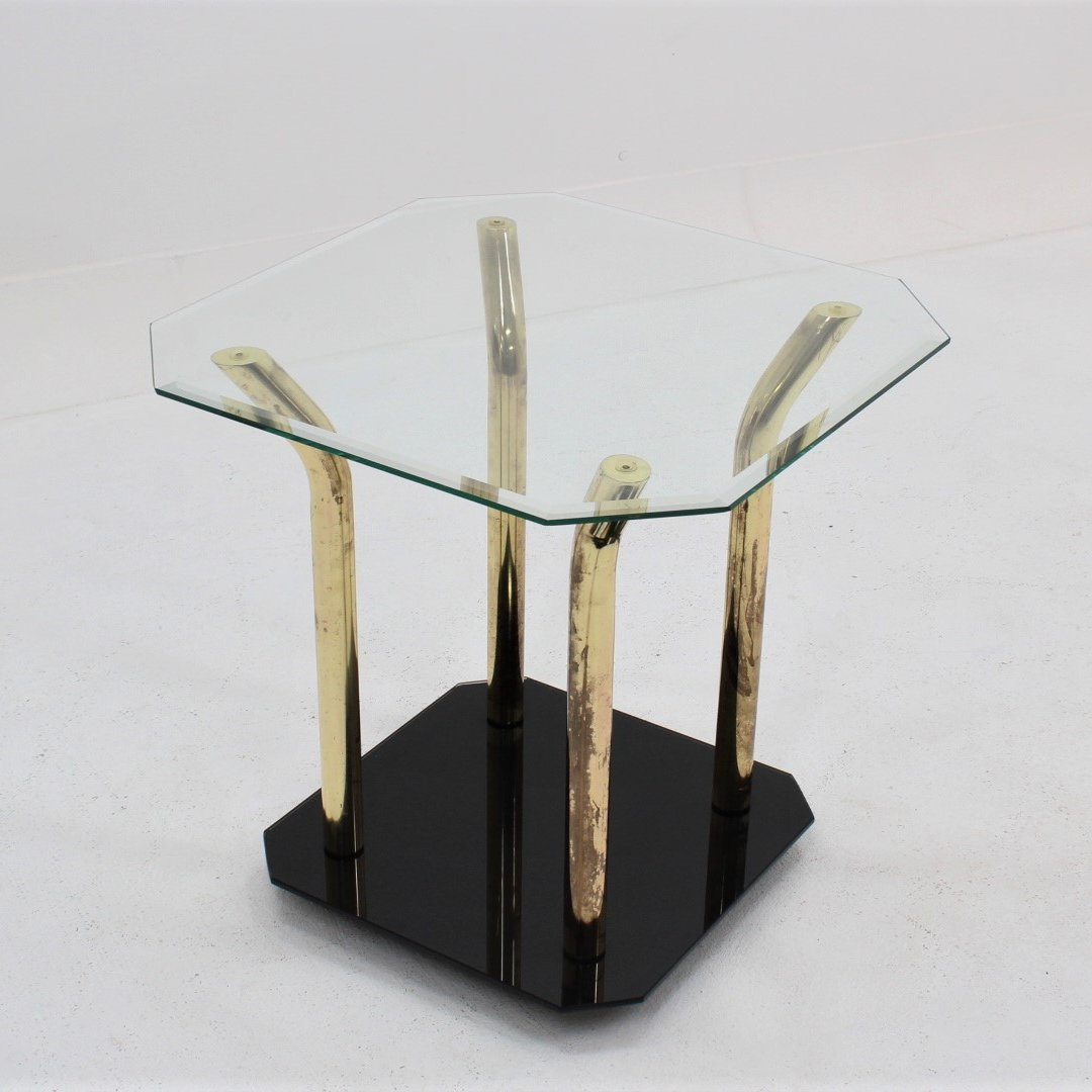 Italian Glass Coffee Table.Vintage Italian Design Brass Cut Glass Side Table 1970s
