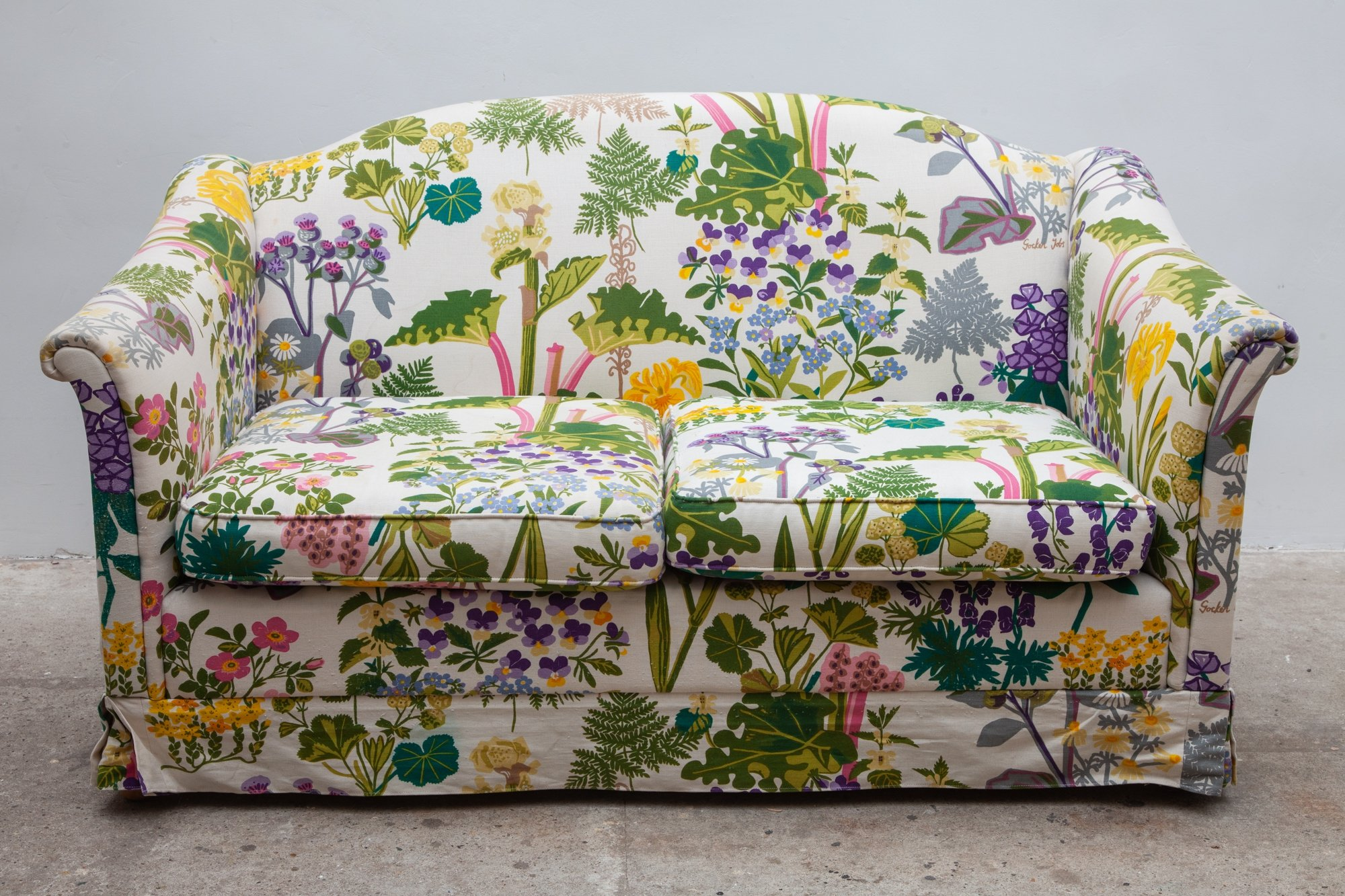 Vintage Fl Print Sofa With Fabric By Gocken Jobs 1969