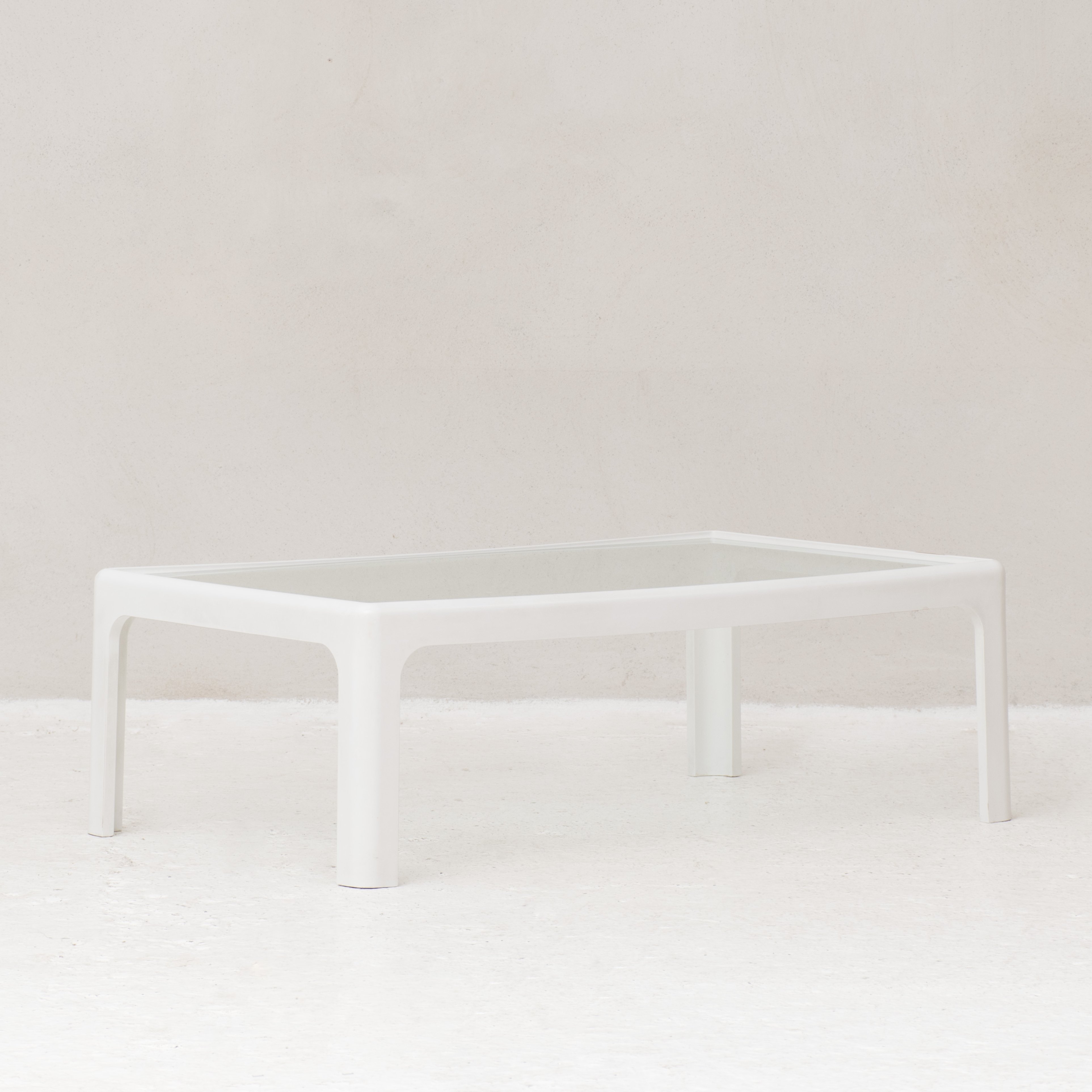- Coffee Table With White Plastic Frame & Glass Top #101619
