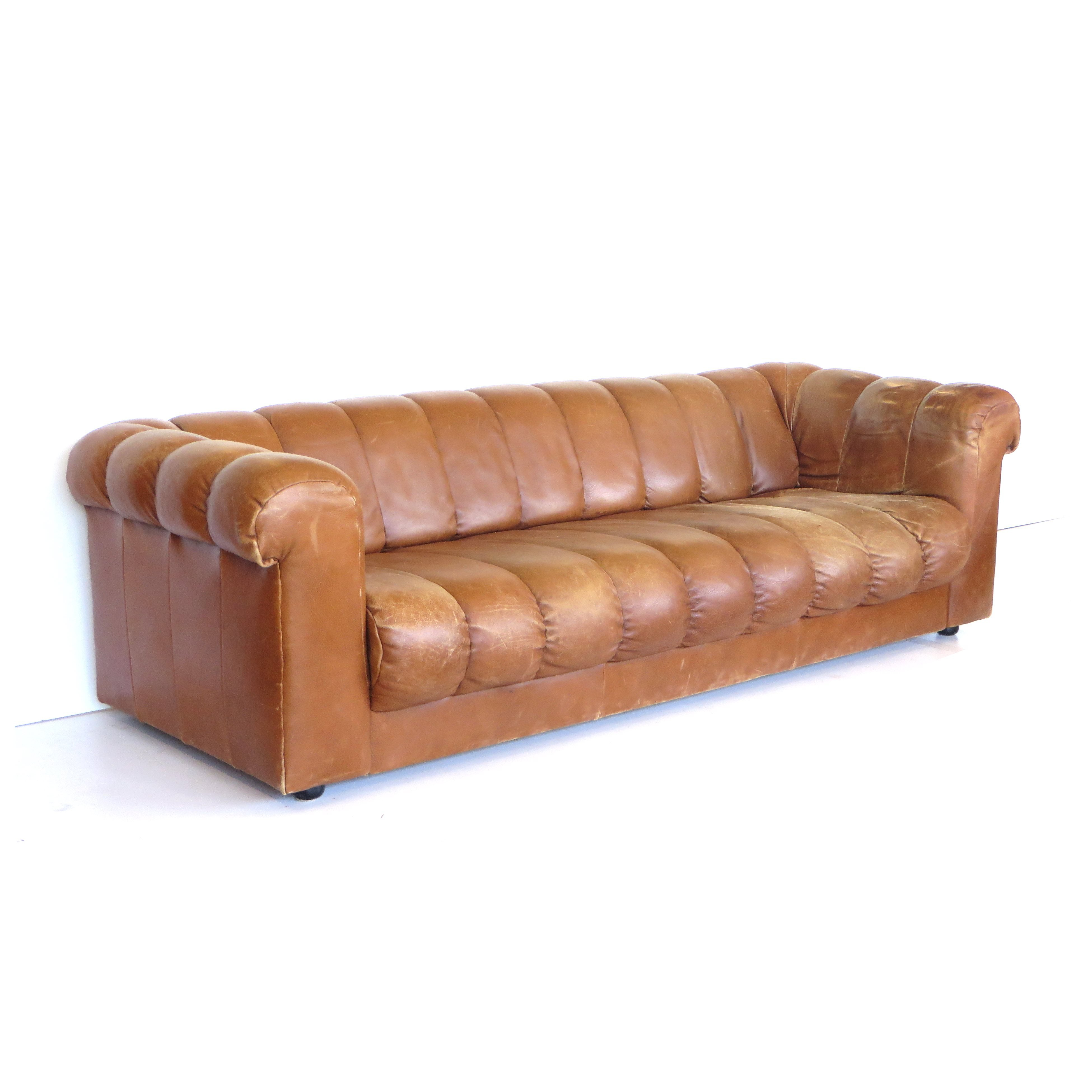 High Quality Cognac Leather Vintage Sofa 1960s