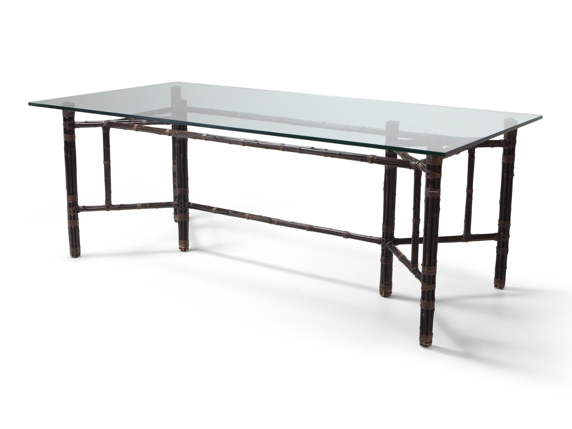 Picture of: Hollywood Regency Bamboo Dining Table With Glass Top 1970s 102614