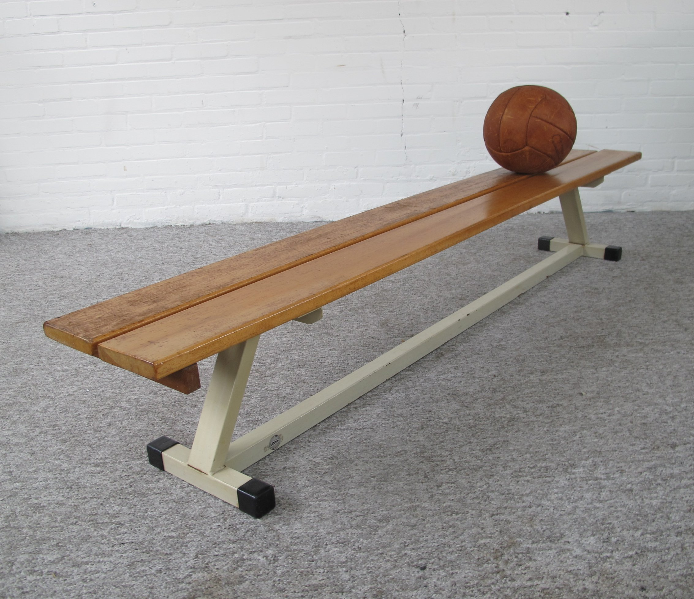 Outstanding School Bench Made Of Metal With Wooden Slats 1960S Machost Co Dining Chair Design Ideas Machostcouk