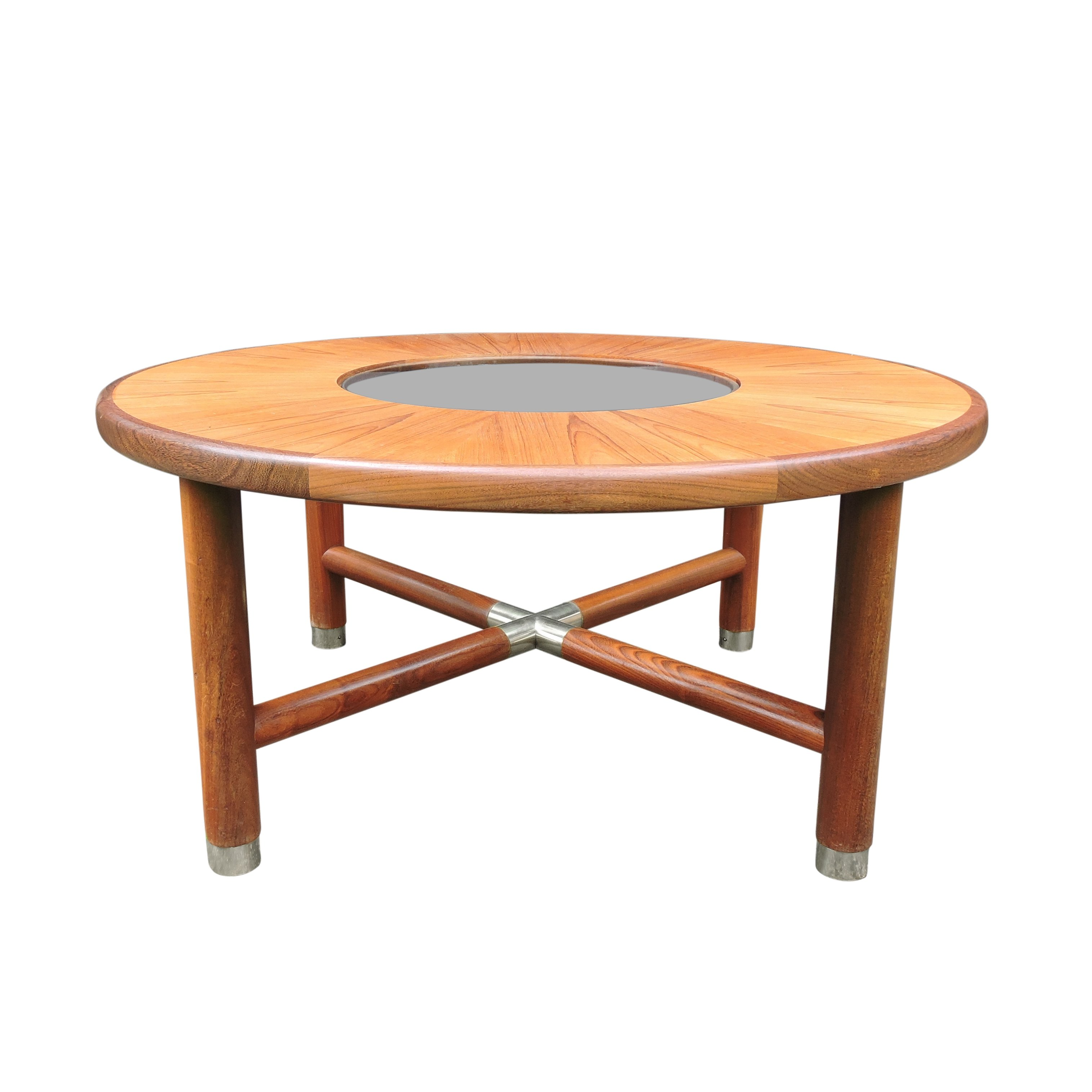 Mid Century Round Teak Glass Coffee Table By G Plan