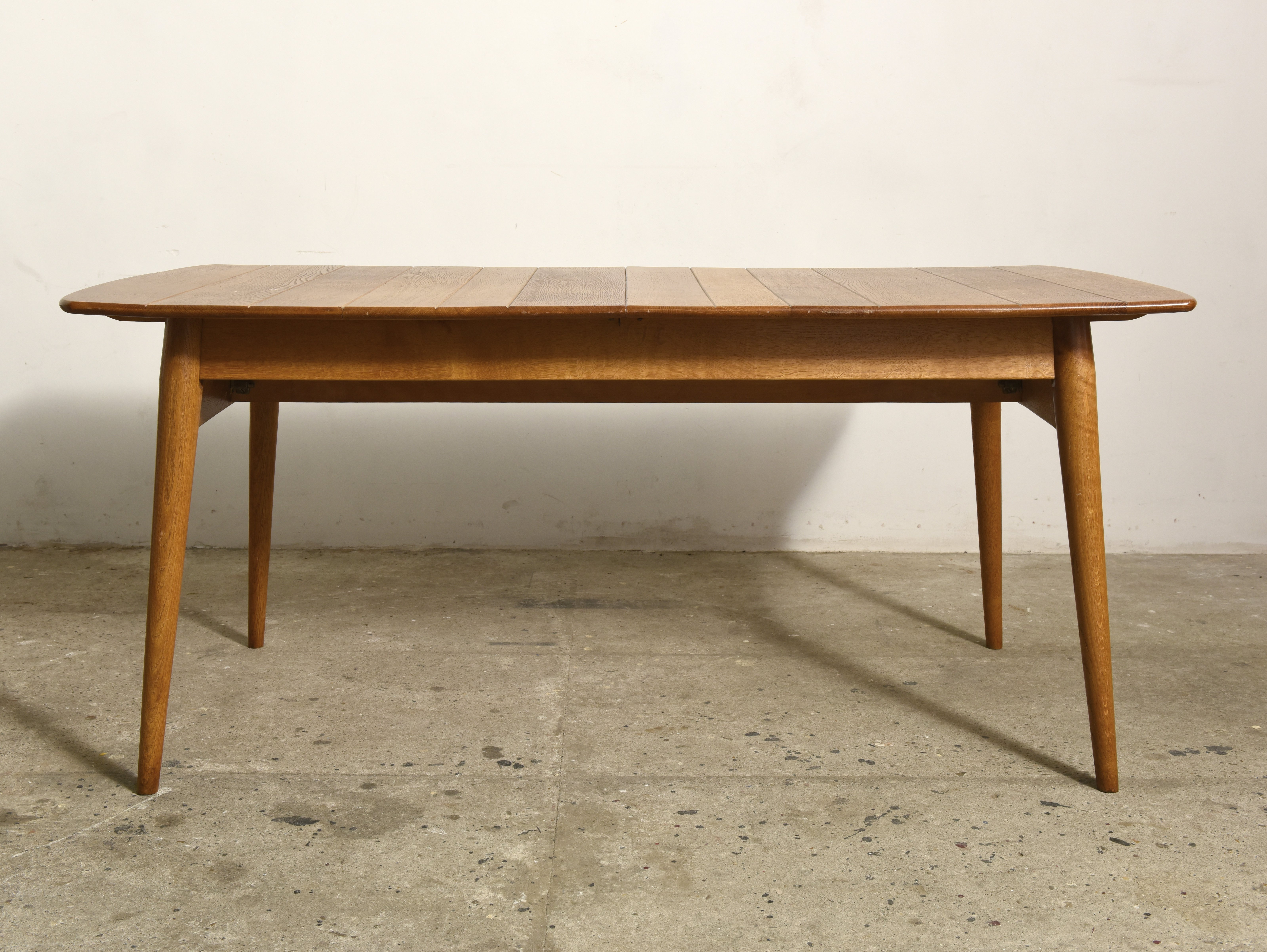 Extendable Dining Table With Solid Teak Rectangular Top Denmark 1950s