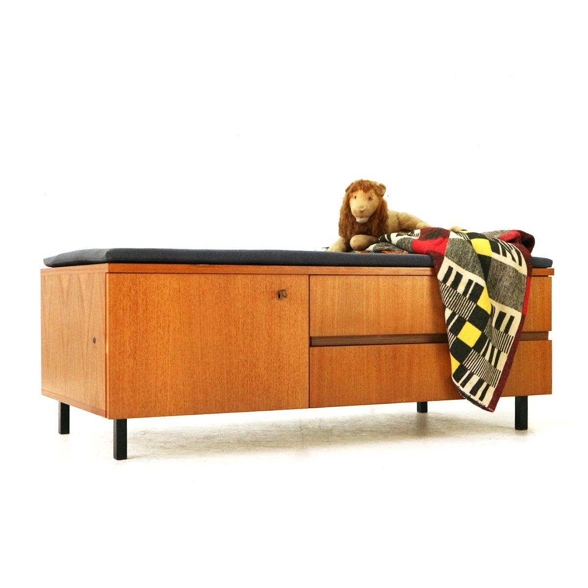 Mid Century Modern Teak Storage Bench With Grey Padding