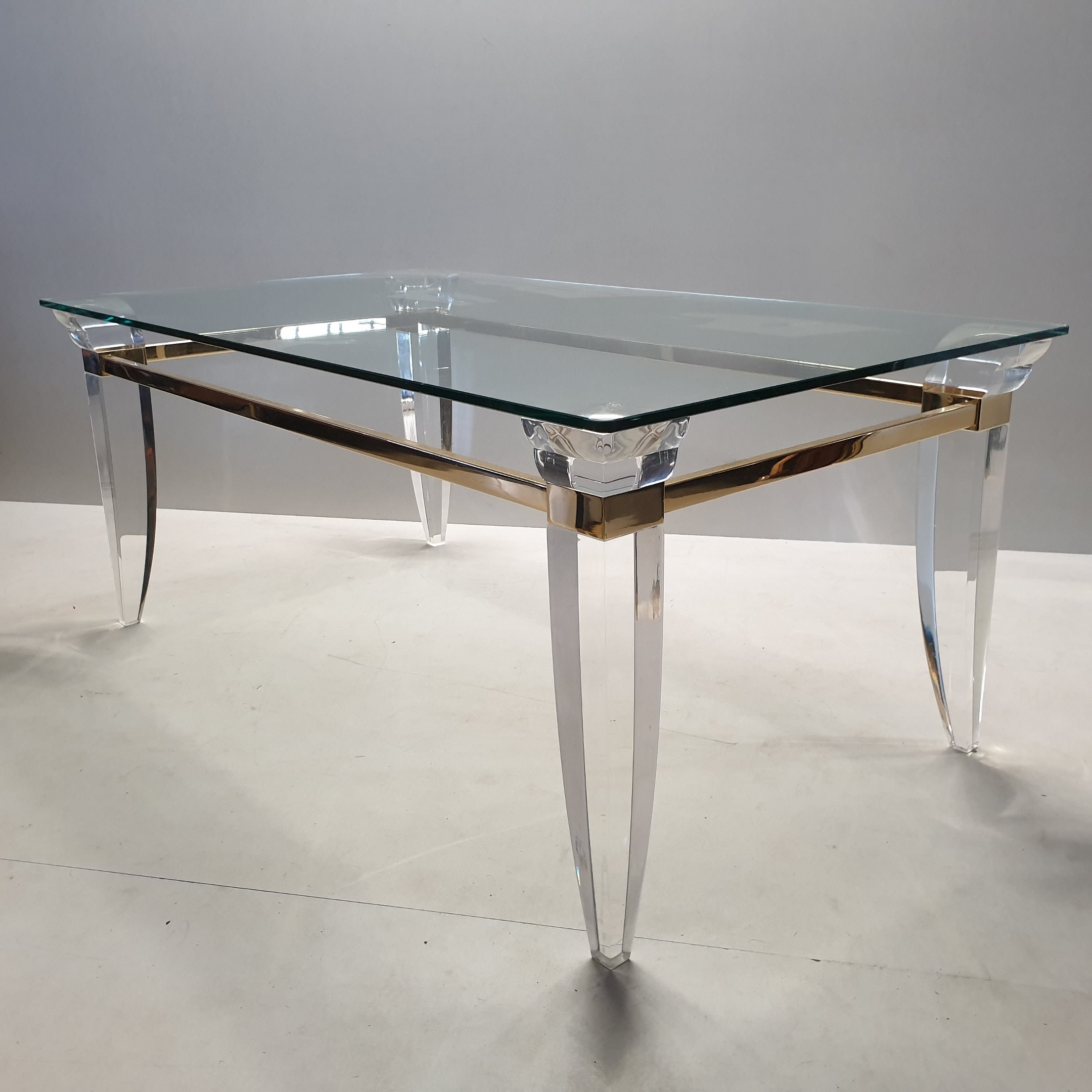 Lucite Gold Plating Glass Coffee Table With Asymmetrical Table