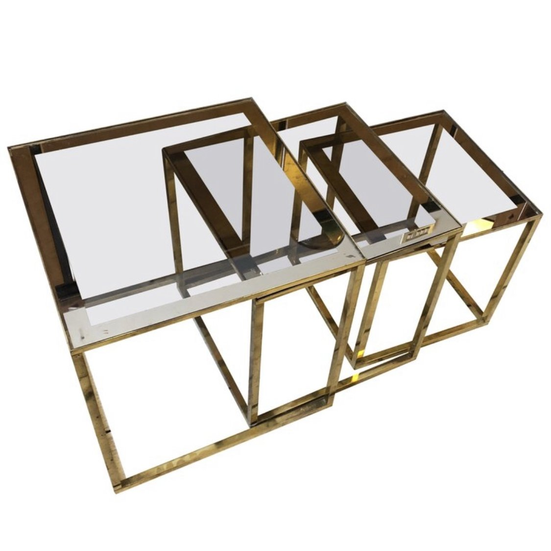 Set Of Three Mid Century Modern Italian Square Modular Brass Side Tables 1960 105399