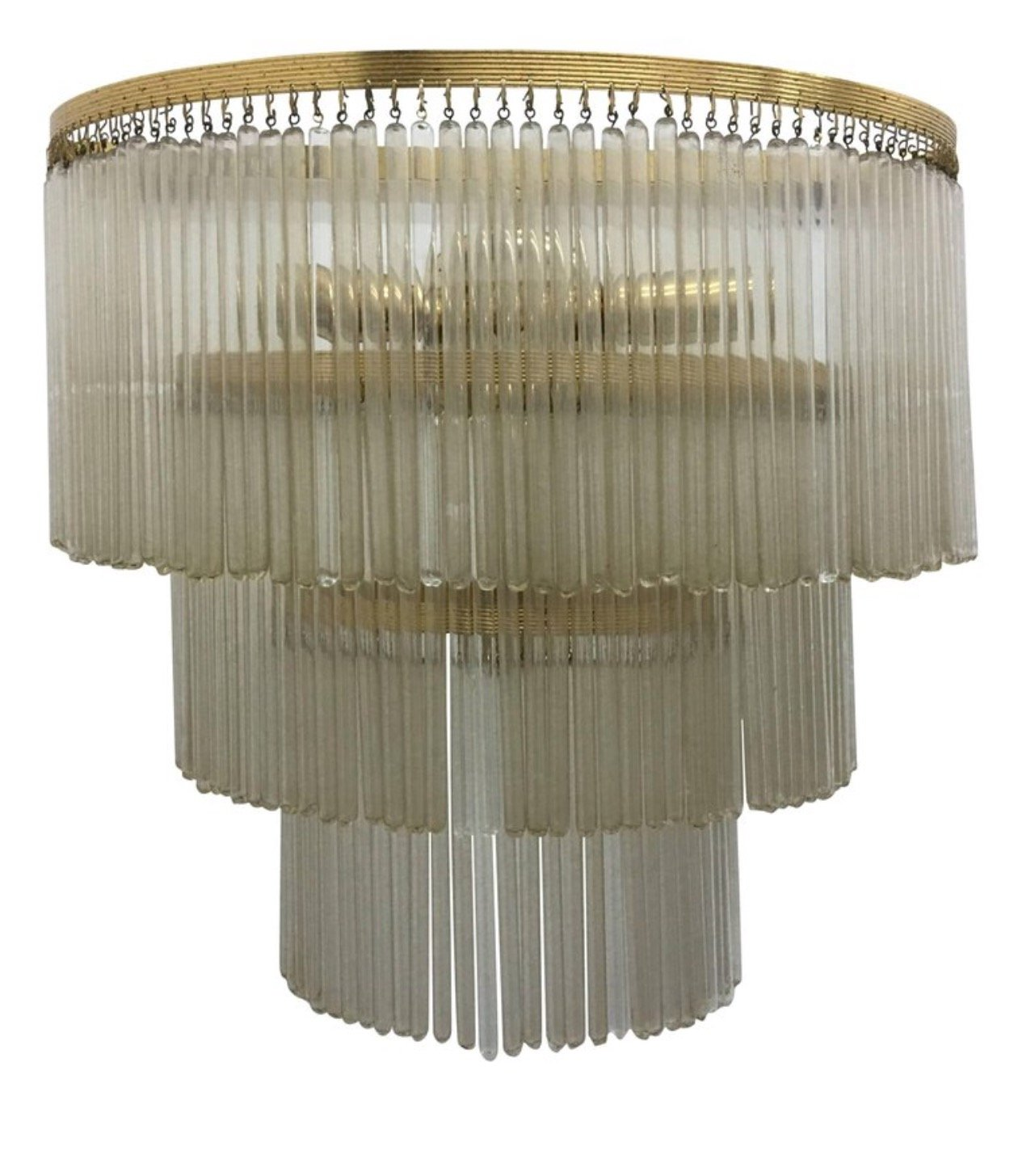Huge Mid Century Modern Brass Glass Wall Sconce Italy 1950s 106009