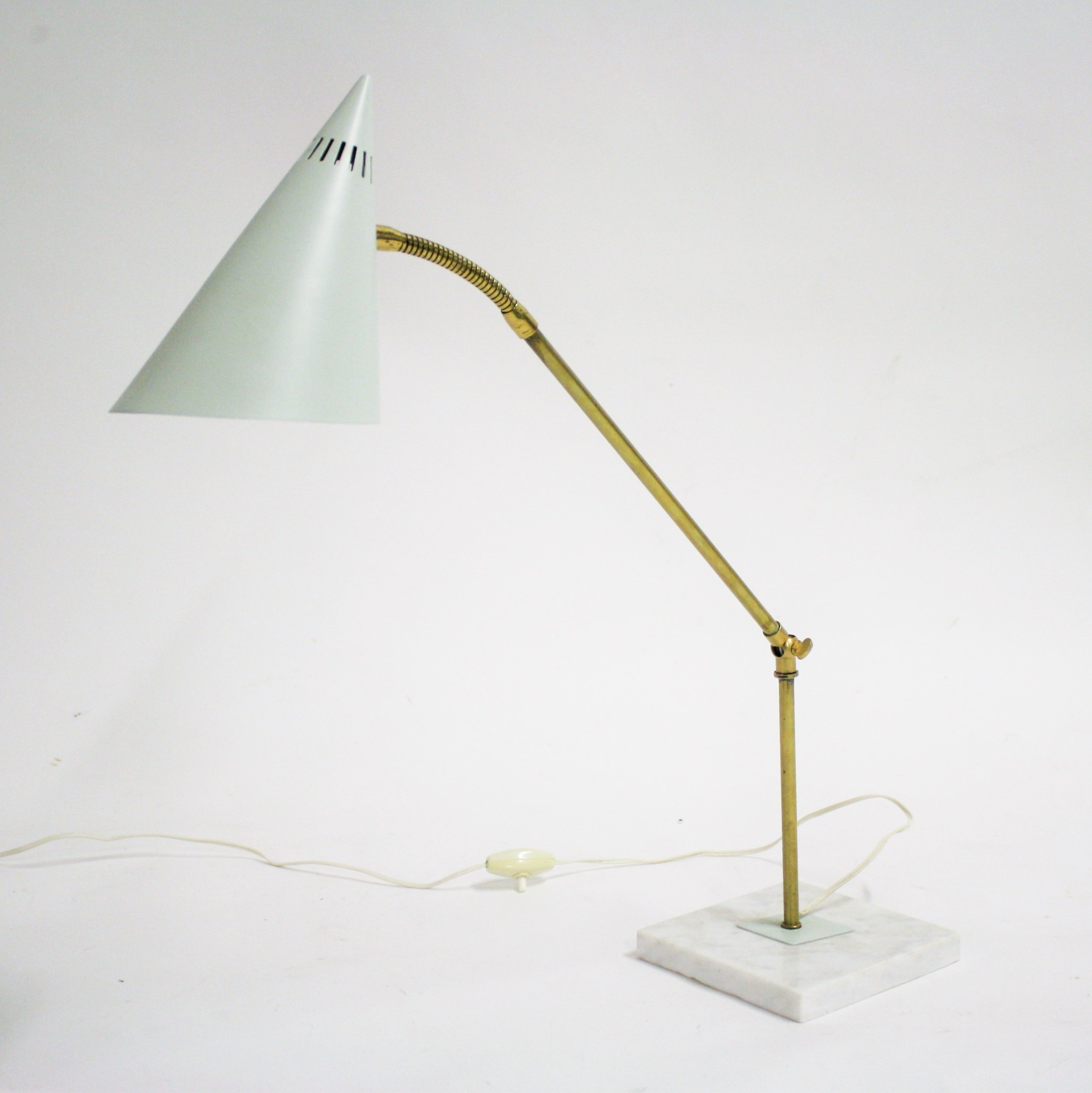 Vintage Brass Marble Table Lamp 1960s 106451