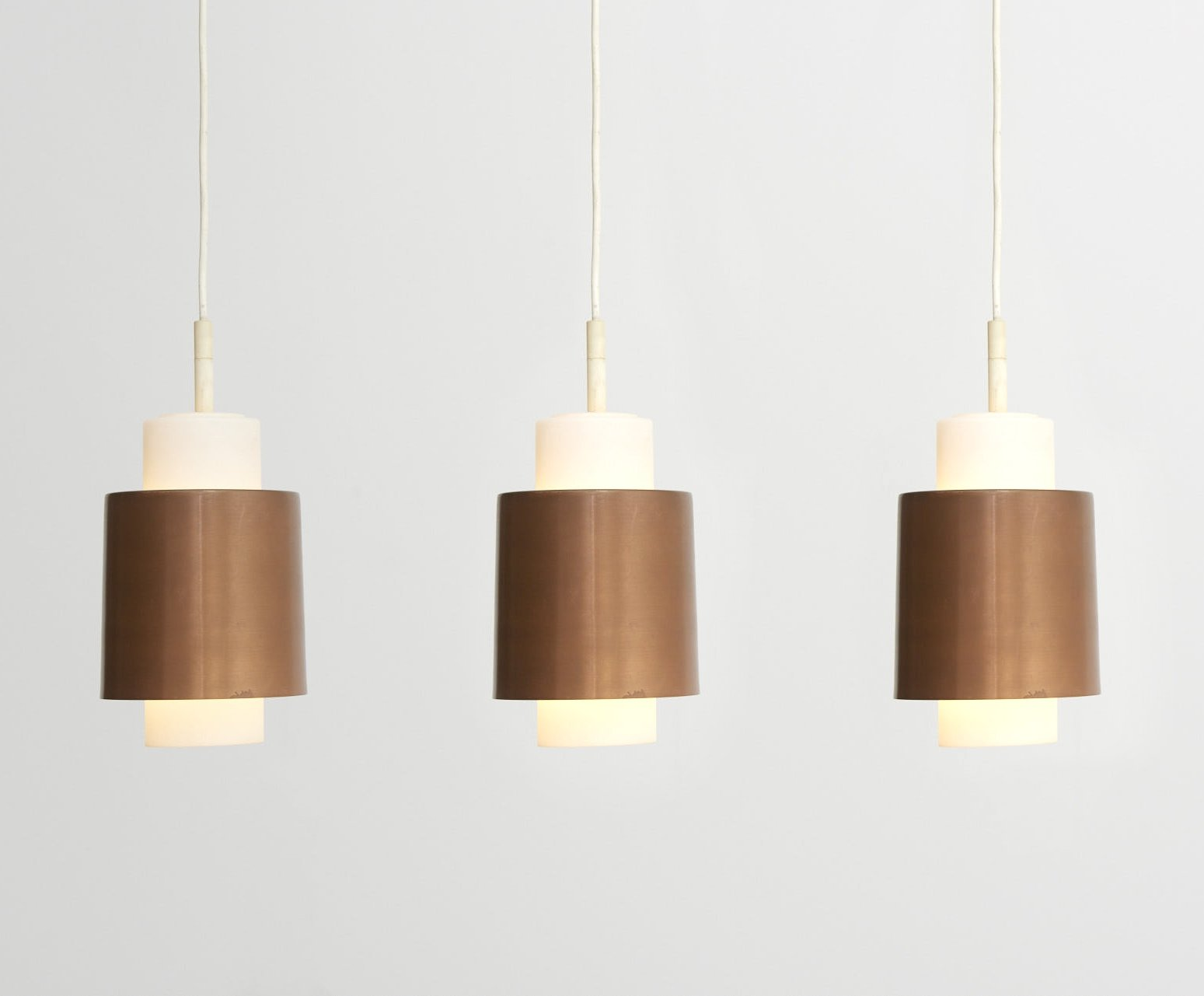 3 Copper Pendant Lamps With Opal Glass Shade 1960s