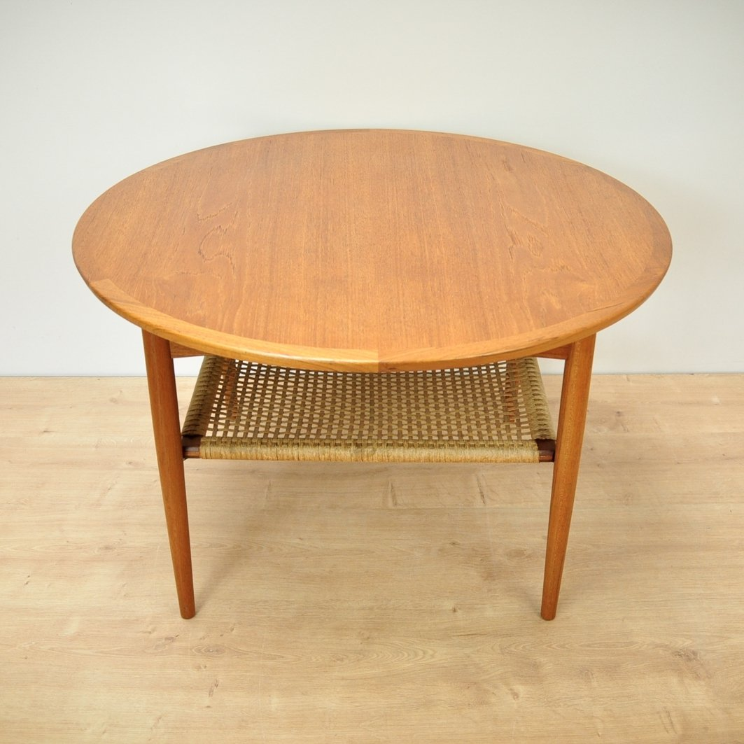 Teak Coffee Table With Cord Shelf From Møbelintarsia 1960s