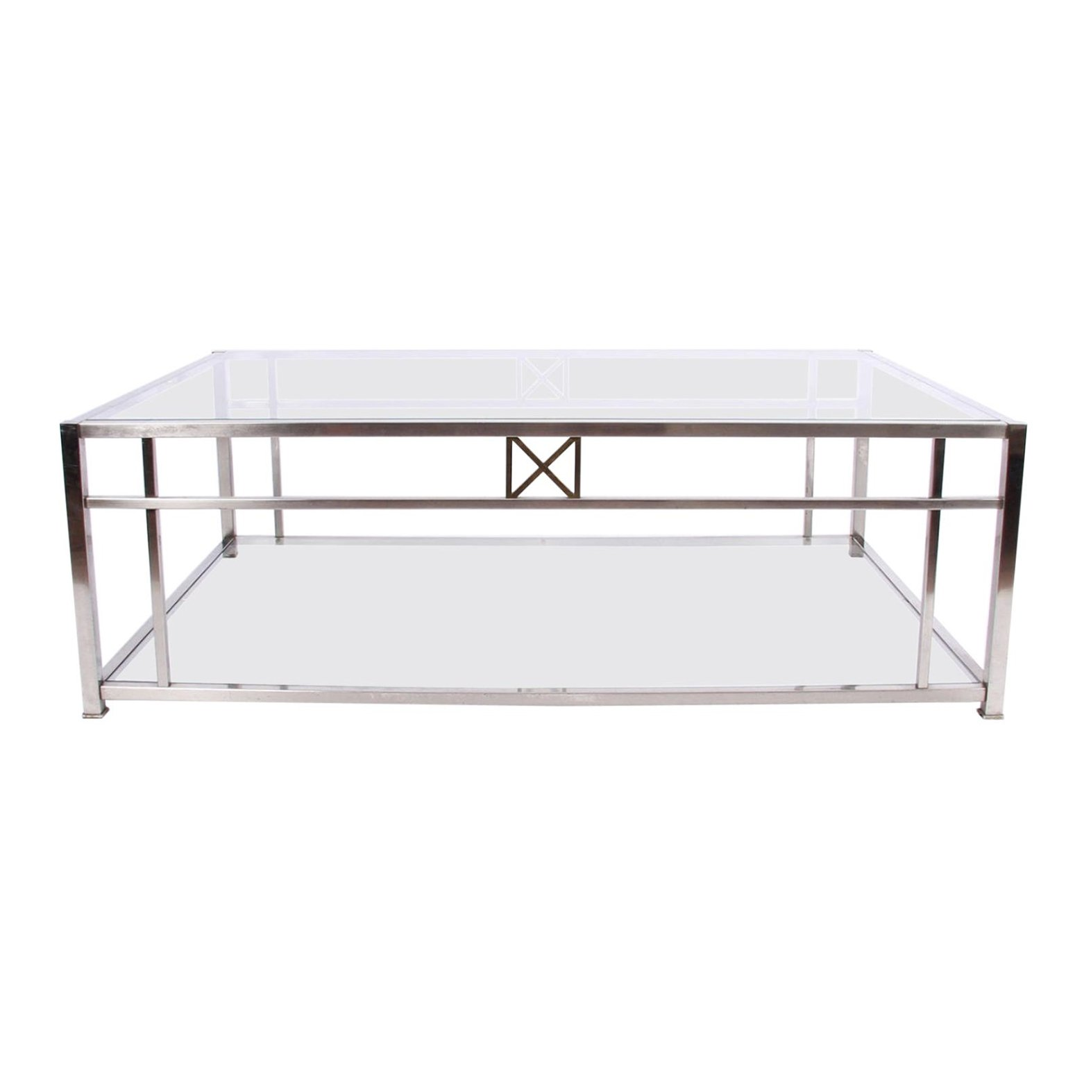 Large Glass Chrome Coffee Table 107108