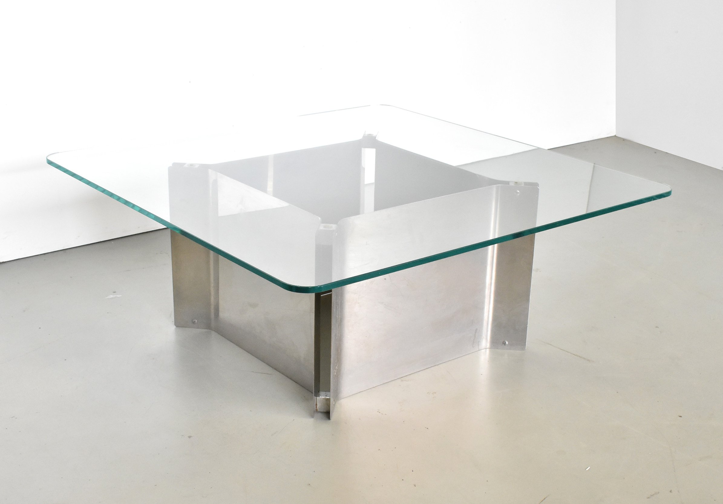 - Square Coffee Table With Thick Glass Top & Chrome Base, 1970s