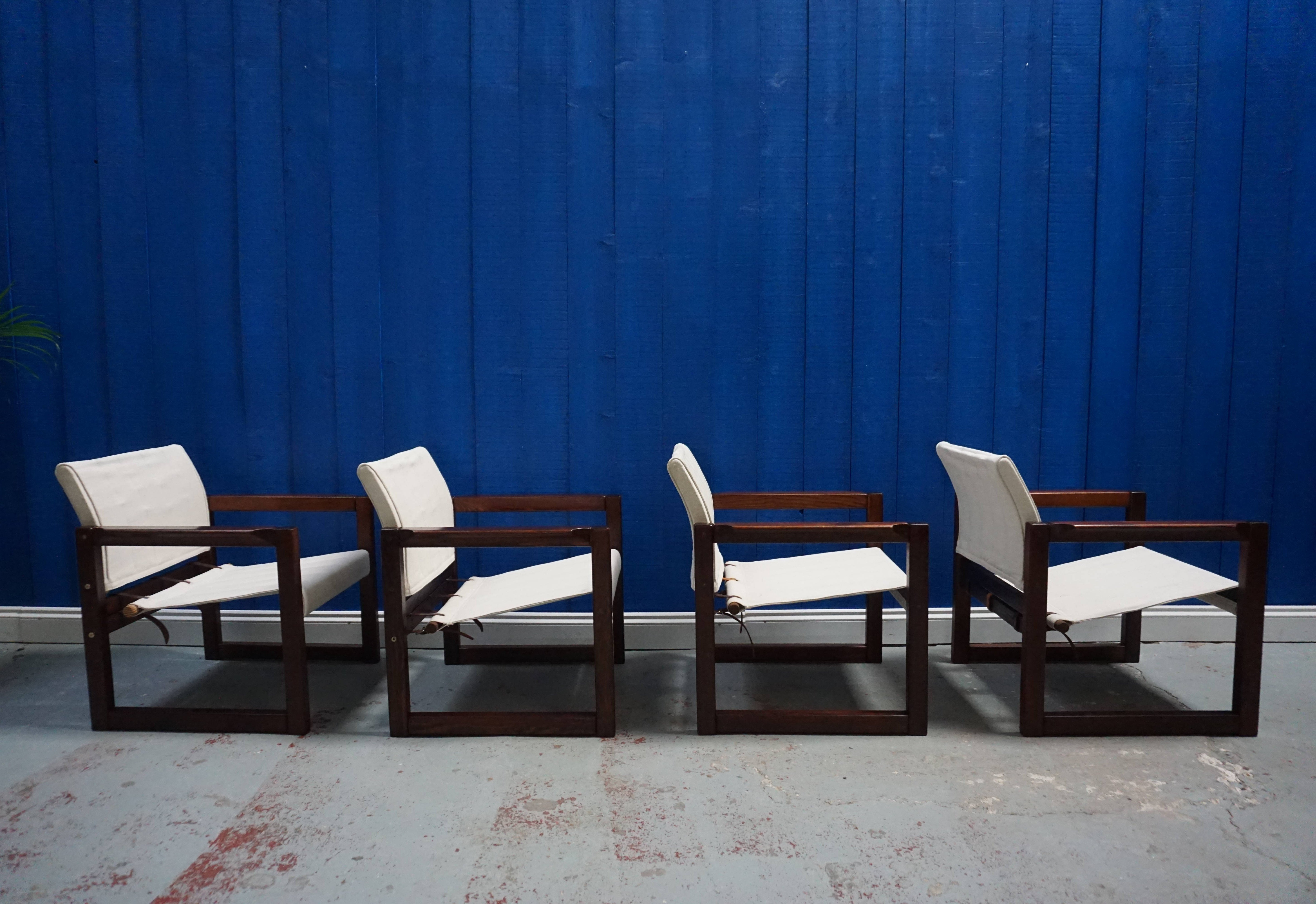 Set Of 4 Diana Safari Canvas Chairs By