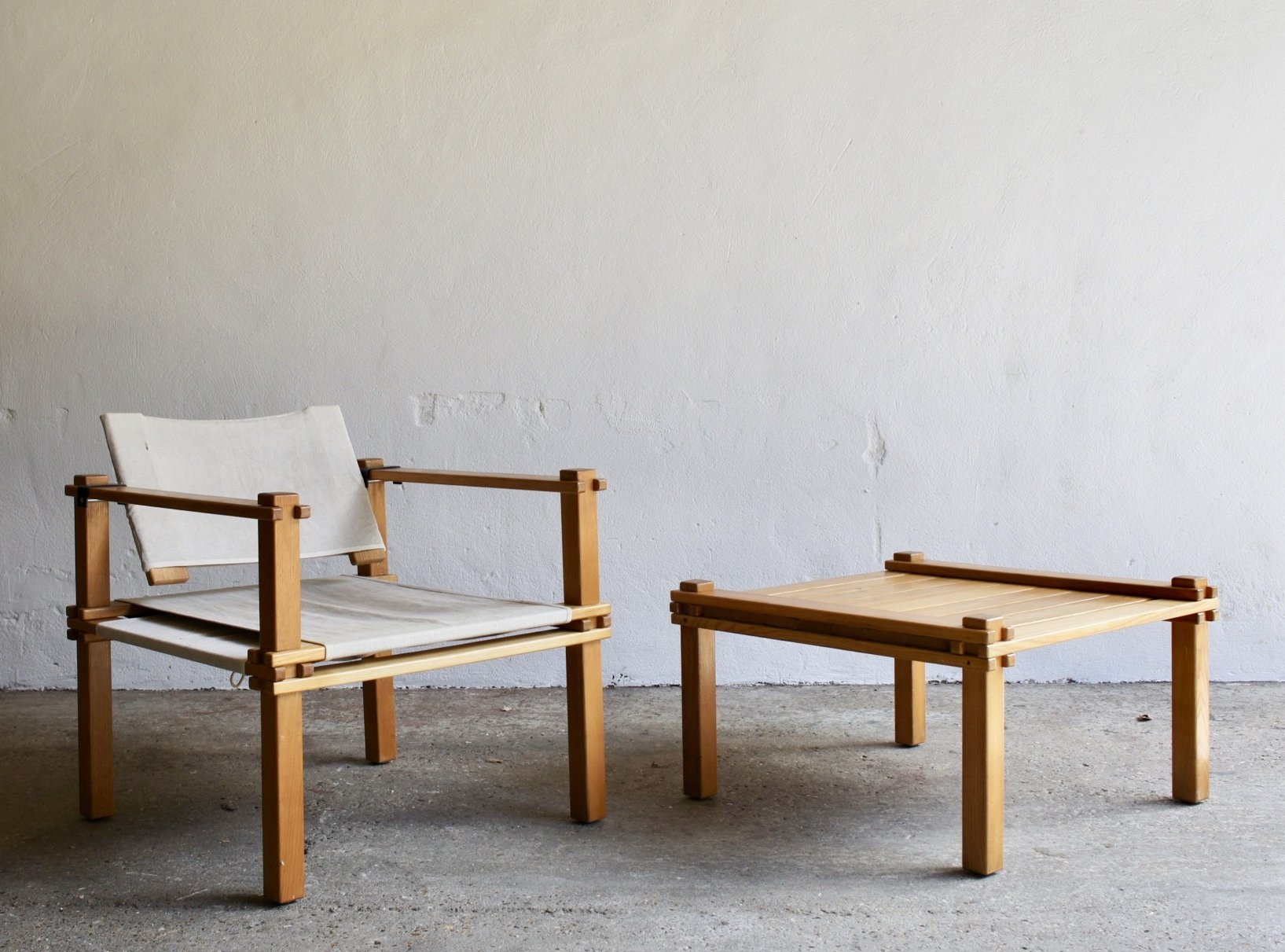 1960 S Farmer Safari Chair And Coffee Table Set By Gerd Lange For Bofinger