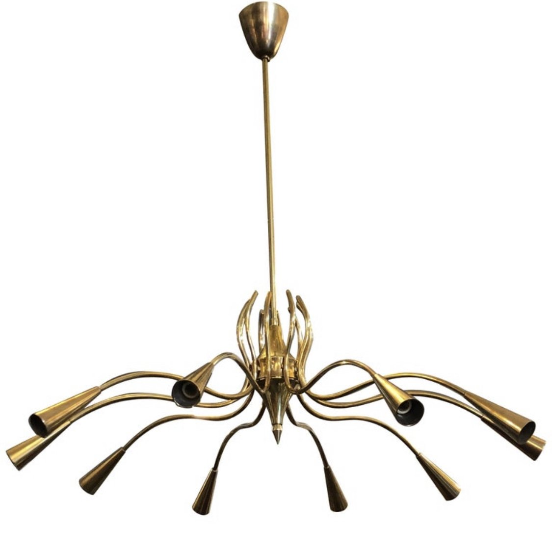 Stylish Mid Century Modern Brass Italian Ten Light Chandelier Circa 1950 107943