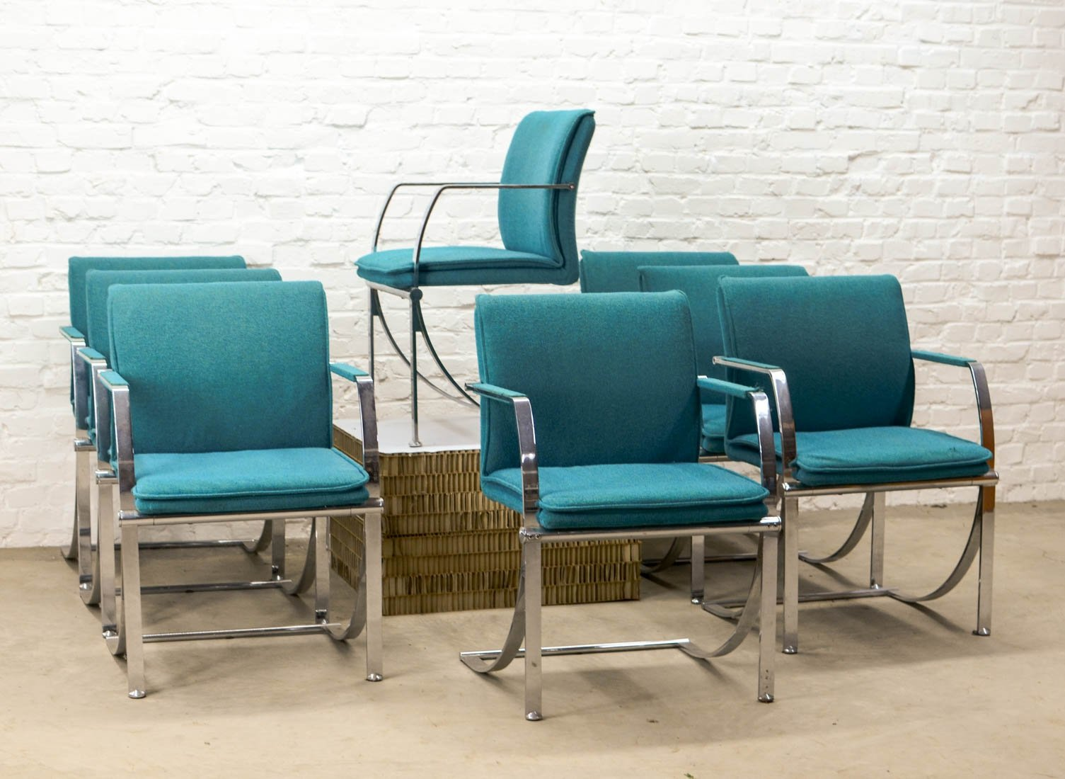 Mid Century Design Ocean Blue Chrome Dining Chairs By Ki Casala Germany 1980s 87344
