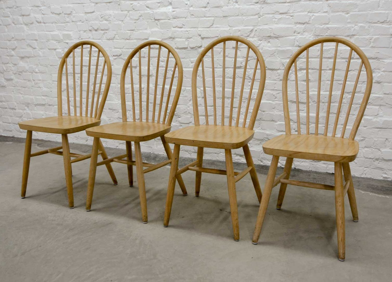 Mid Century Scandinavian Design Spindle Back Wooden Dining Chairs 1960s