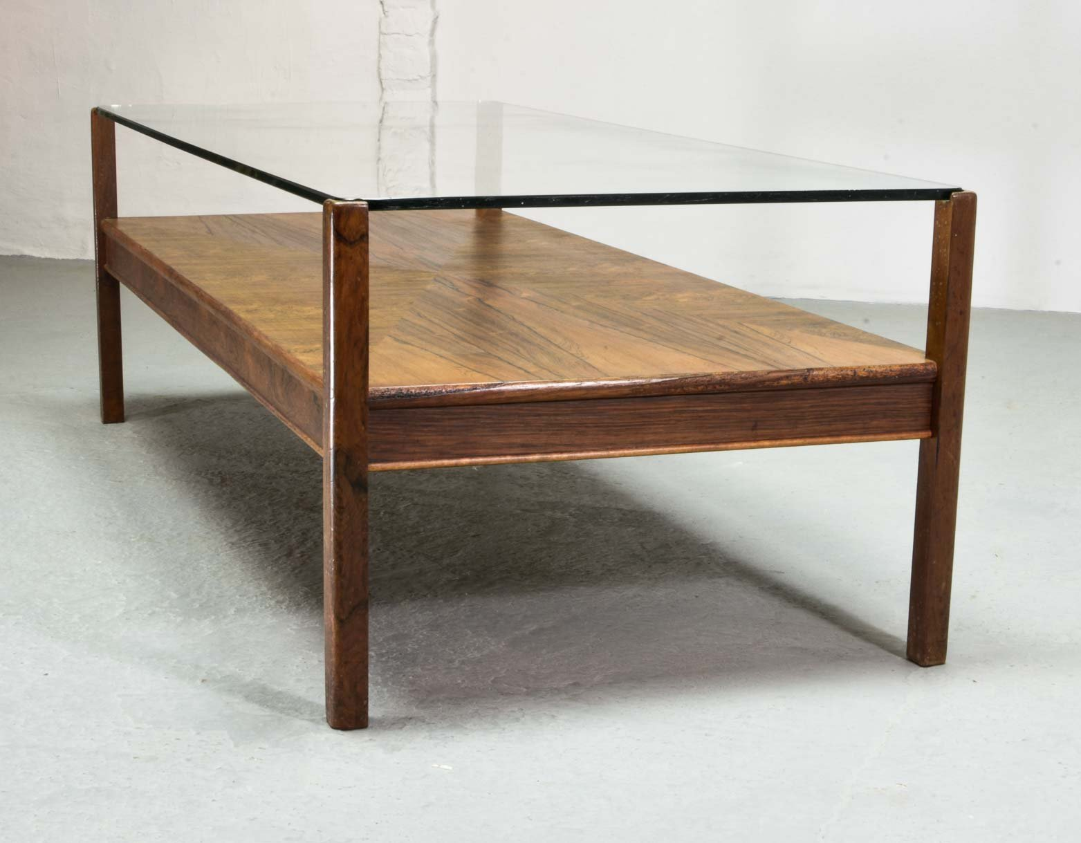 - Mid Century Dutch Design Rosewood Coffee Table With Glass Top For