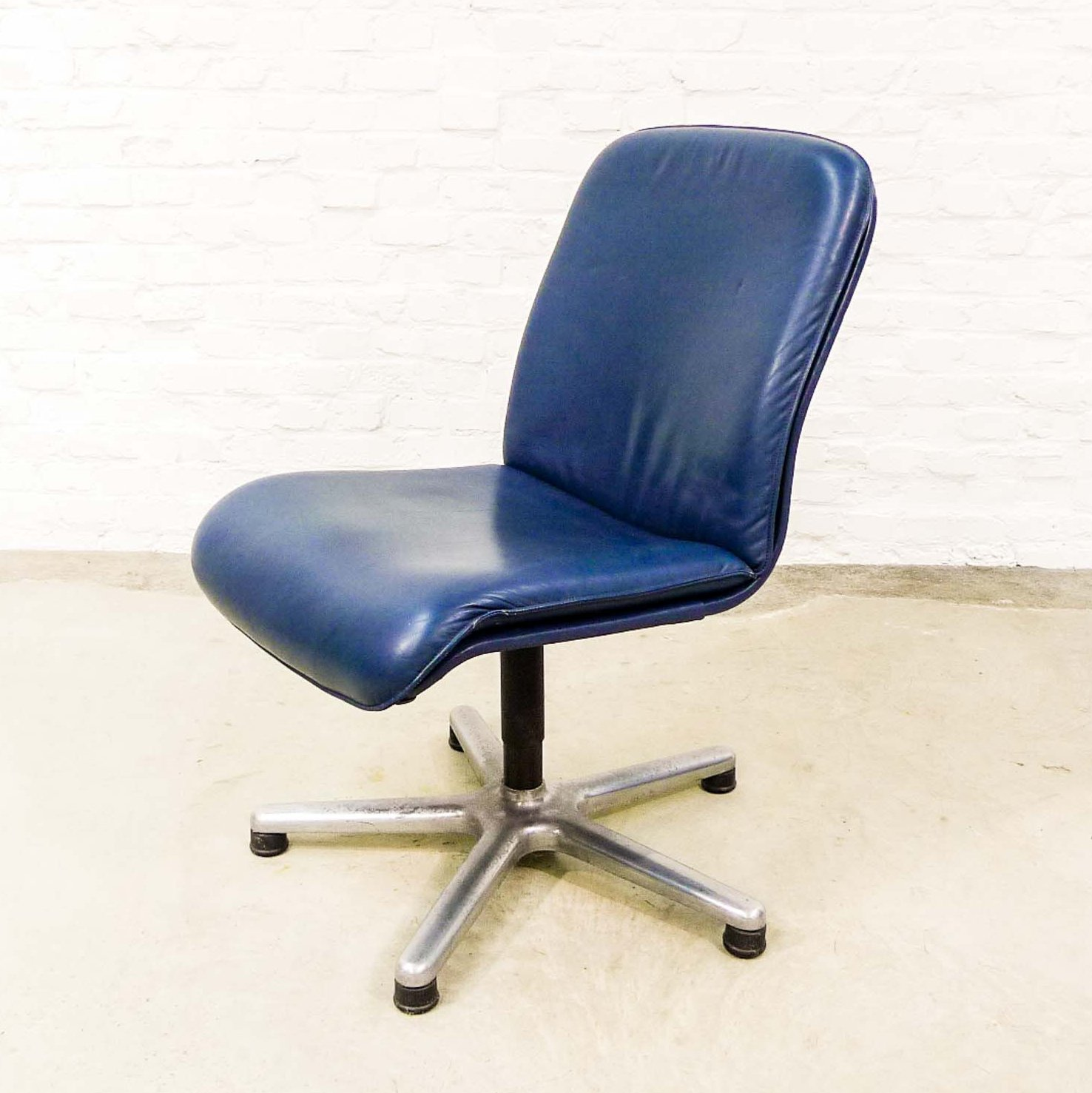 Mid Century Design Blue Leather Swivel Desk Side Chairs By Sitag 1970s