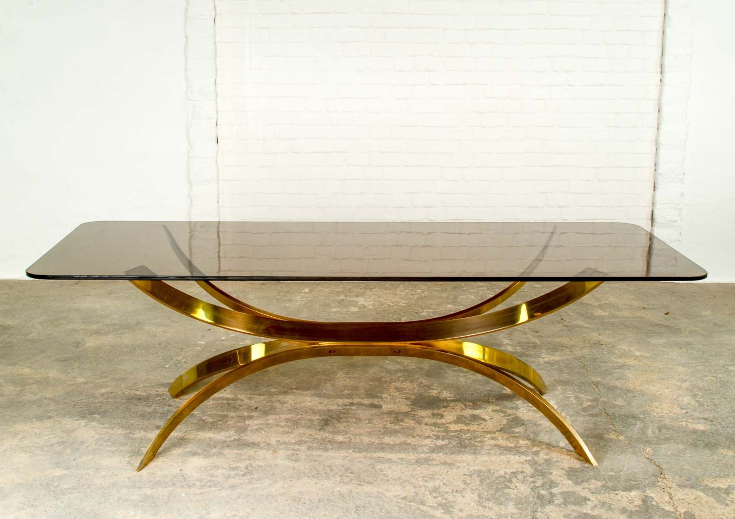 Italian Glass Coffee Table.Mid Century Italian Design Sculptured Brass Glass Coffee Table 1970s
