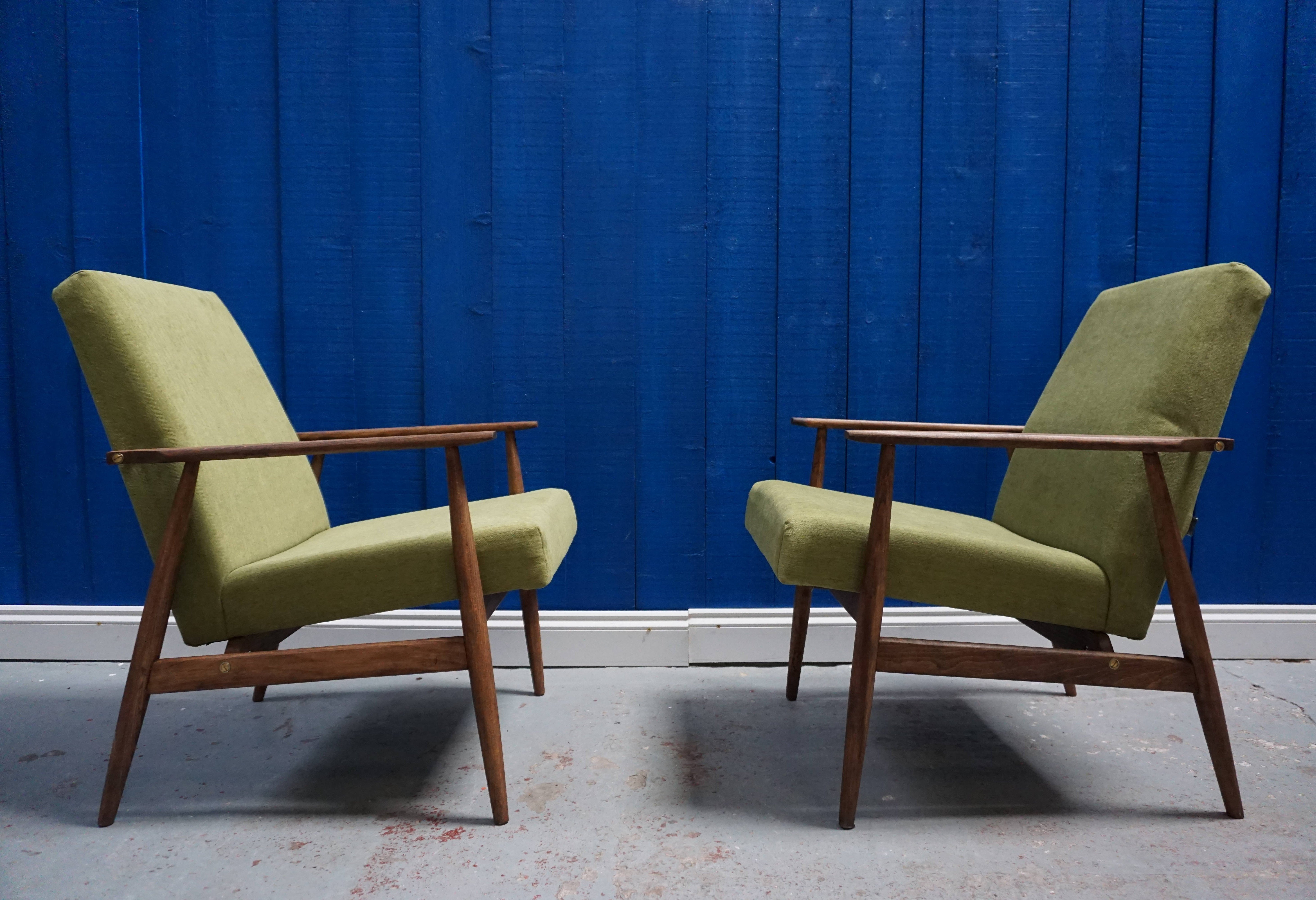 2 x mid century armchair in green by h lis 1970s