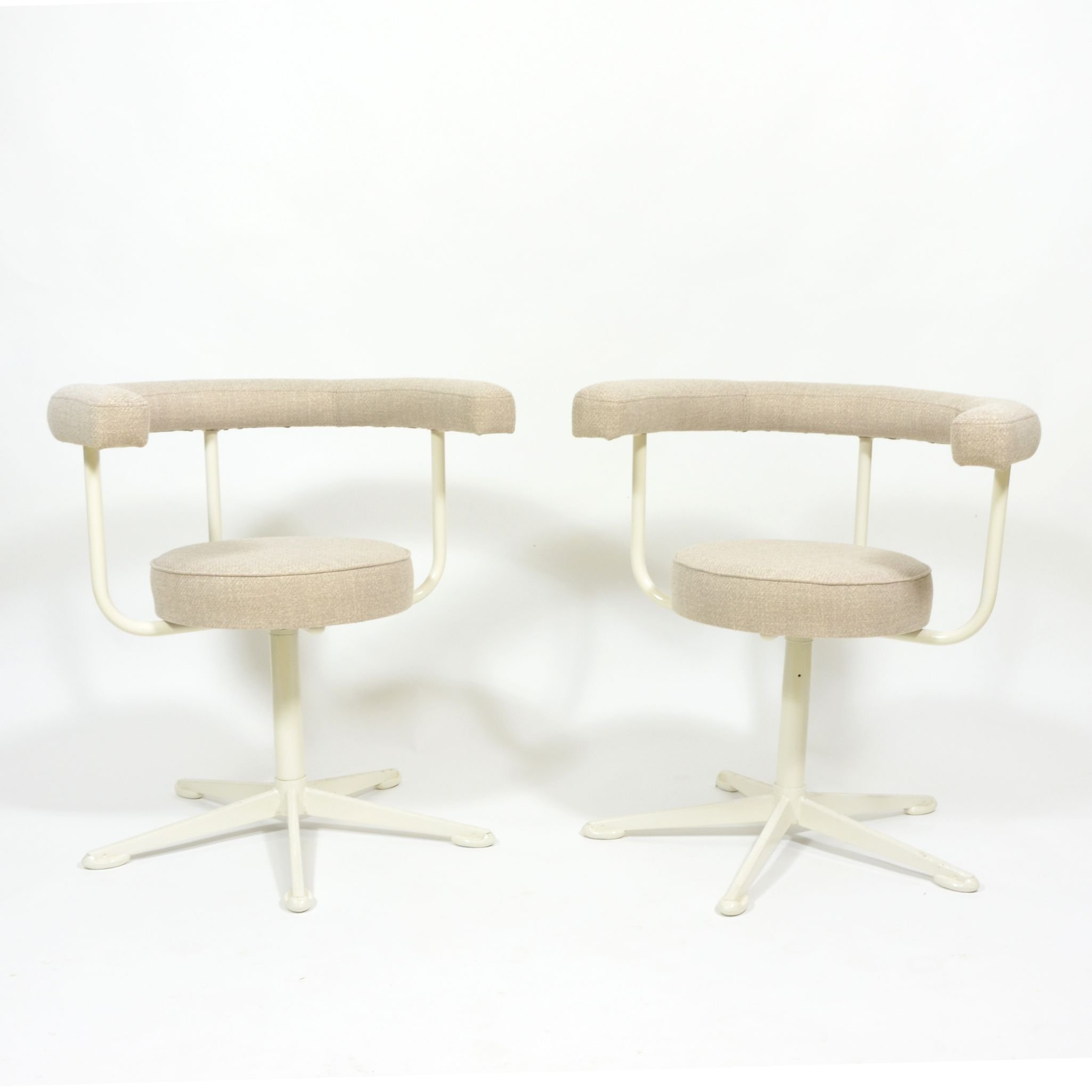 Marvelous Pair Of Swivel Chairs On Metal Leg 1970S Creativecarmelina Interior Chair Design Creativecarmelinacom