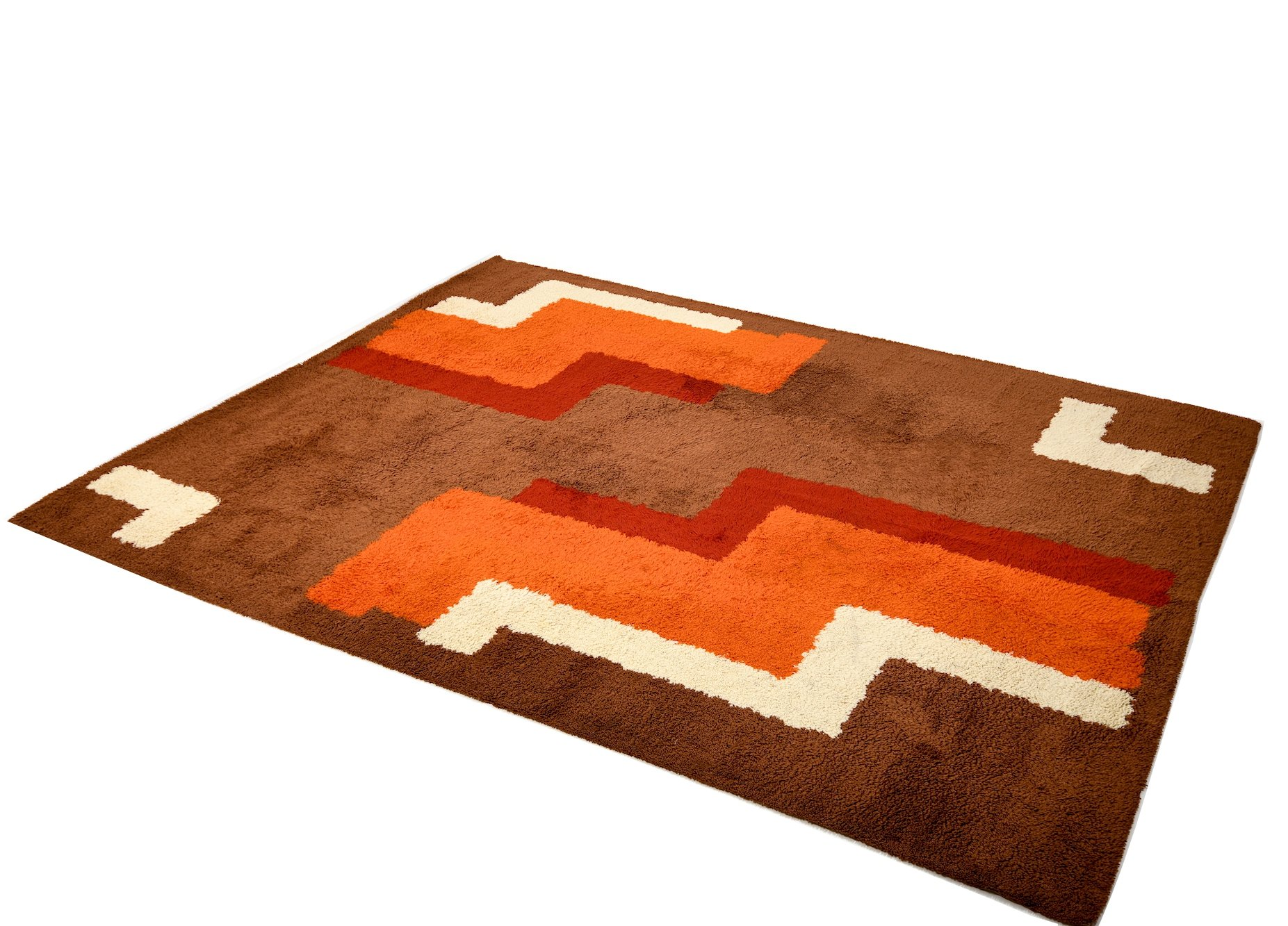Large Space Age Wool Rug Carpet By Reichel 1970s 108971