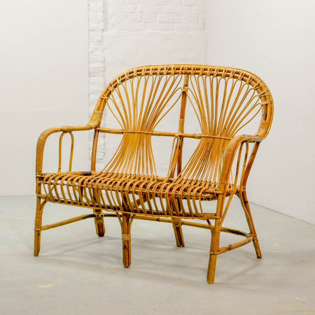Mid Century Design Rattan Two Seat