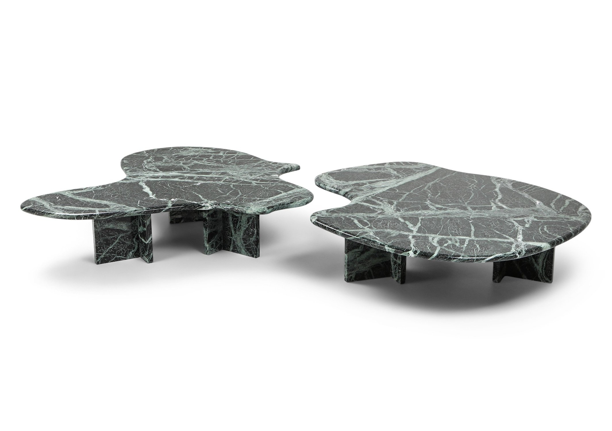 - Post-modern Green Marble Coffee Tables, 1970s #109293
