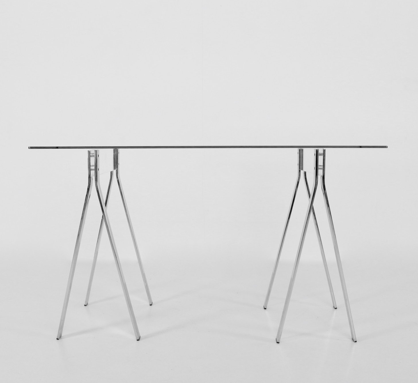 Minimalist Glass Desk With Chrome Lucite Legs 109733