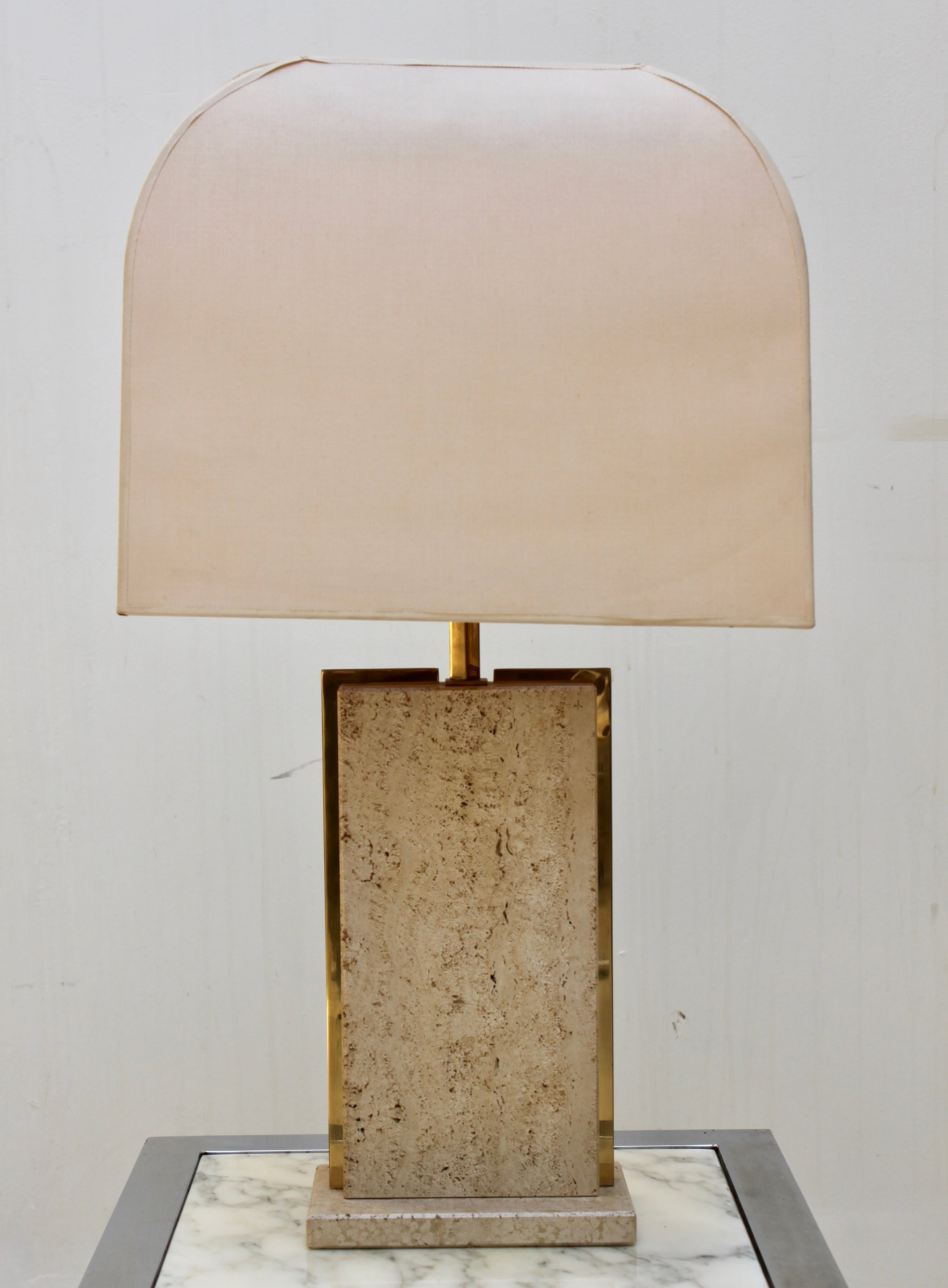 Picture of: Table Lamp With Travertine Brass Base 109914
