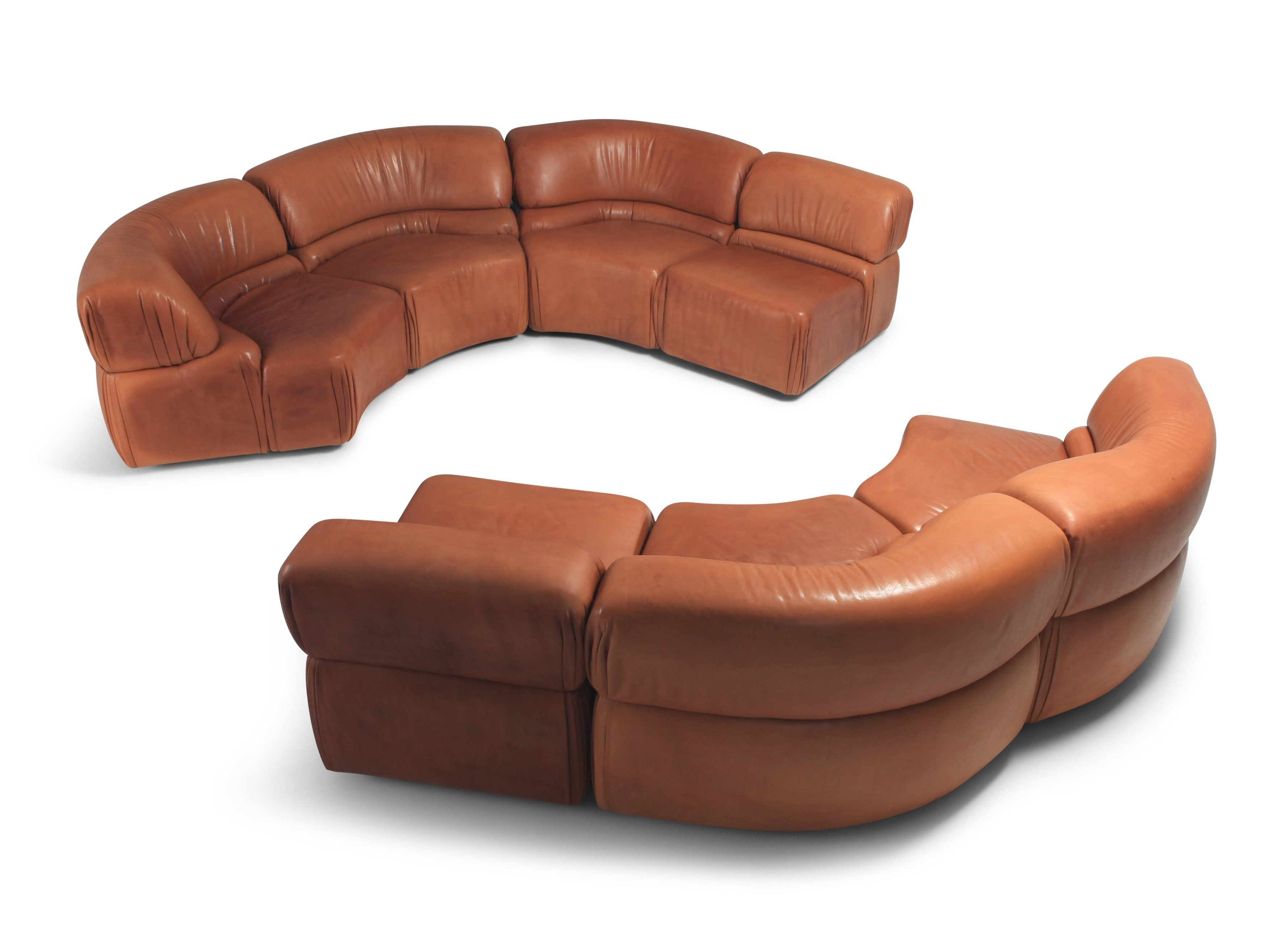 Sectional Cognac Leather Sofa Cosmos Sofa By De Sede Switzerland 1970s