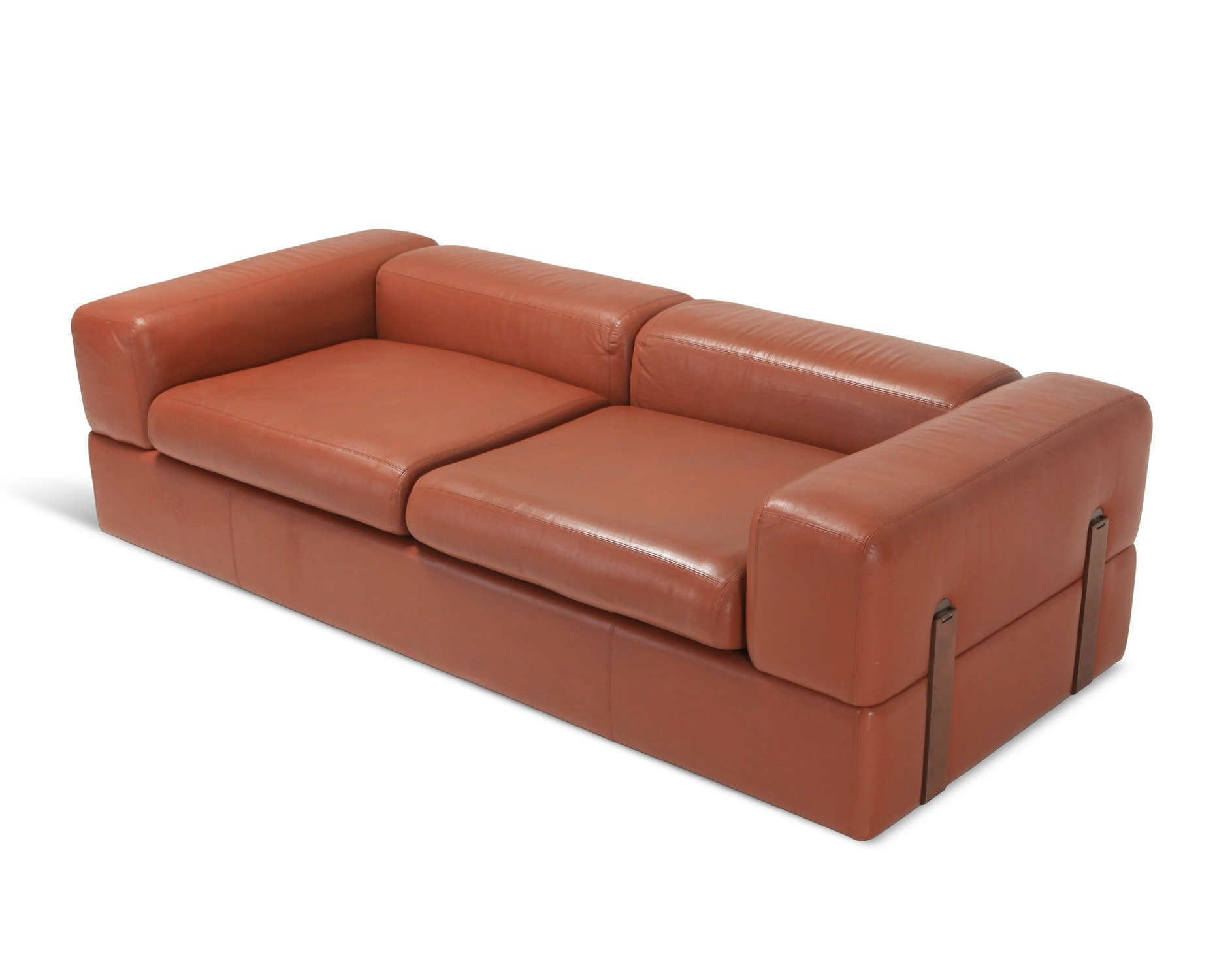 Minimalist Cognac Leather Sofa Bed By