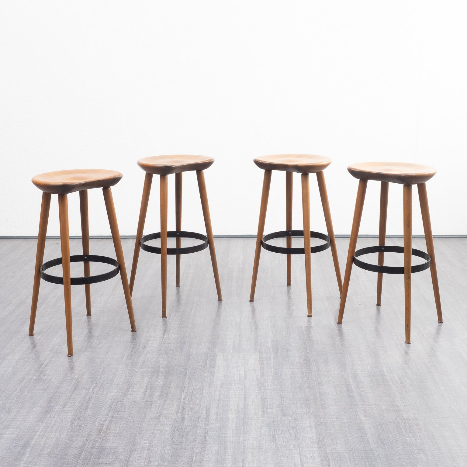 Awesome Set Of 4 Organically Shaped Solid Wood Vintage Midcentury Cjindustries Chair Design For Home Cjindustriesco