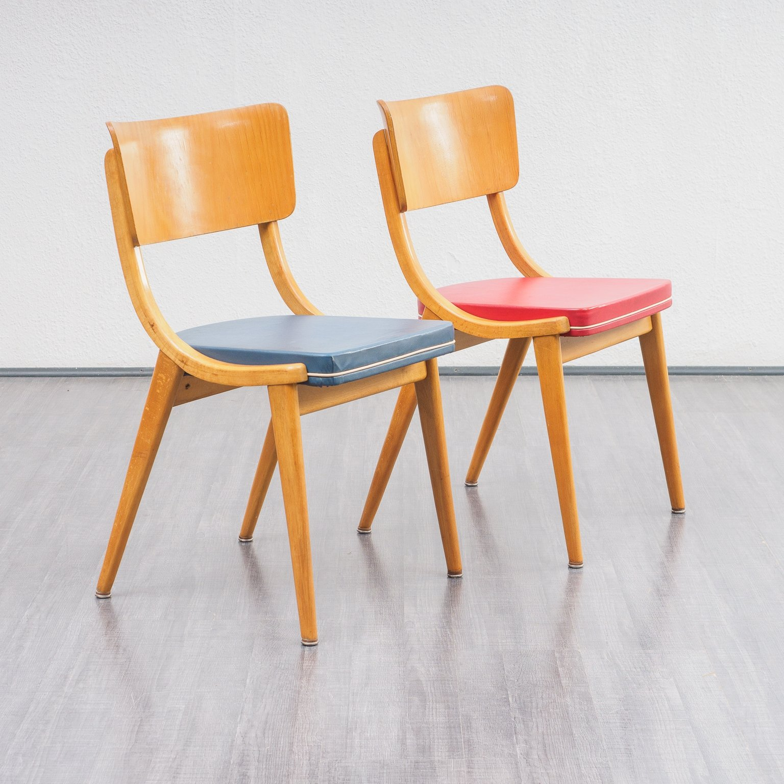 Vintage Midcentury Set Of Kitchen Chairs In Solid Beech 1950s 110204