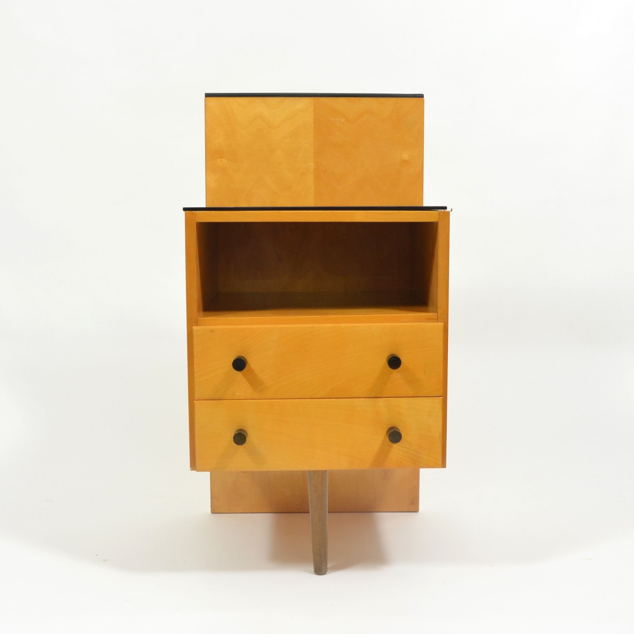 Vintage Bedside Table With Black Glass By Jitona 1960s
