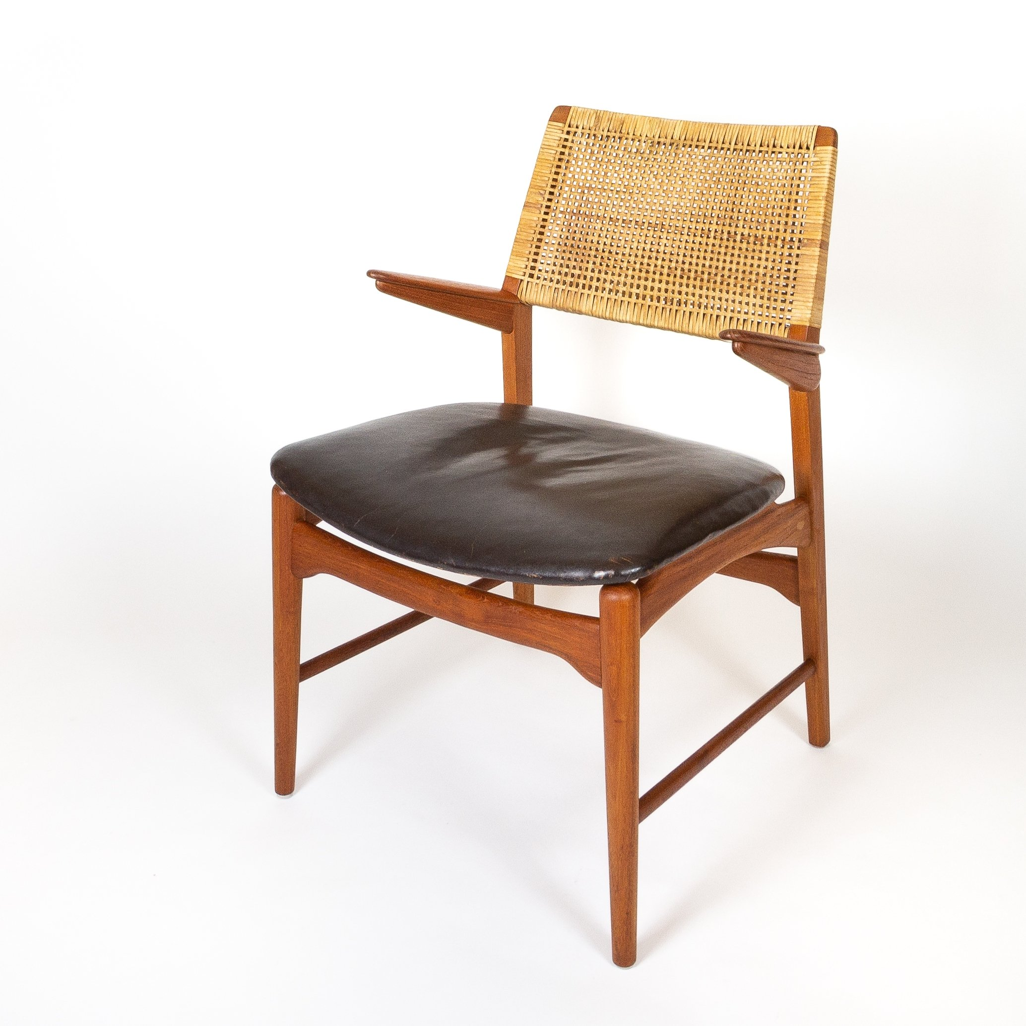Cool Teak Leather Cane Model 48 Armchair By E Knudsen For Andrewgaddart Wooden Chair Designs For Living Room Andrewgaddartcom