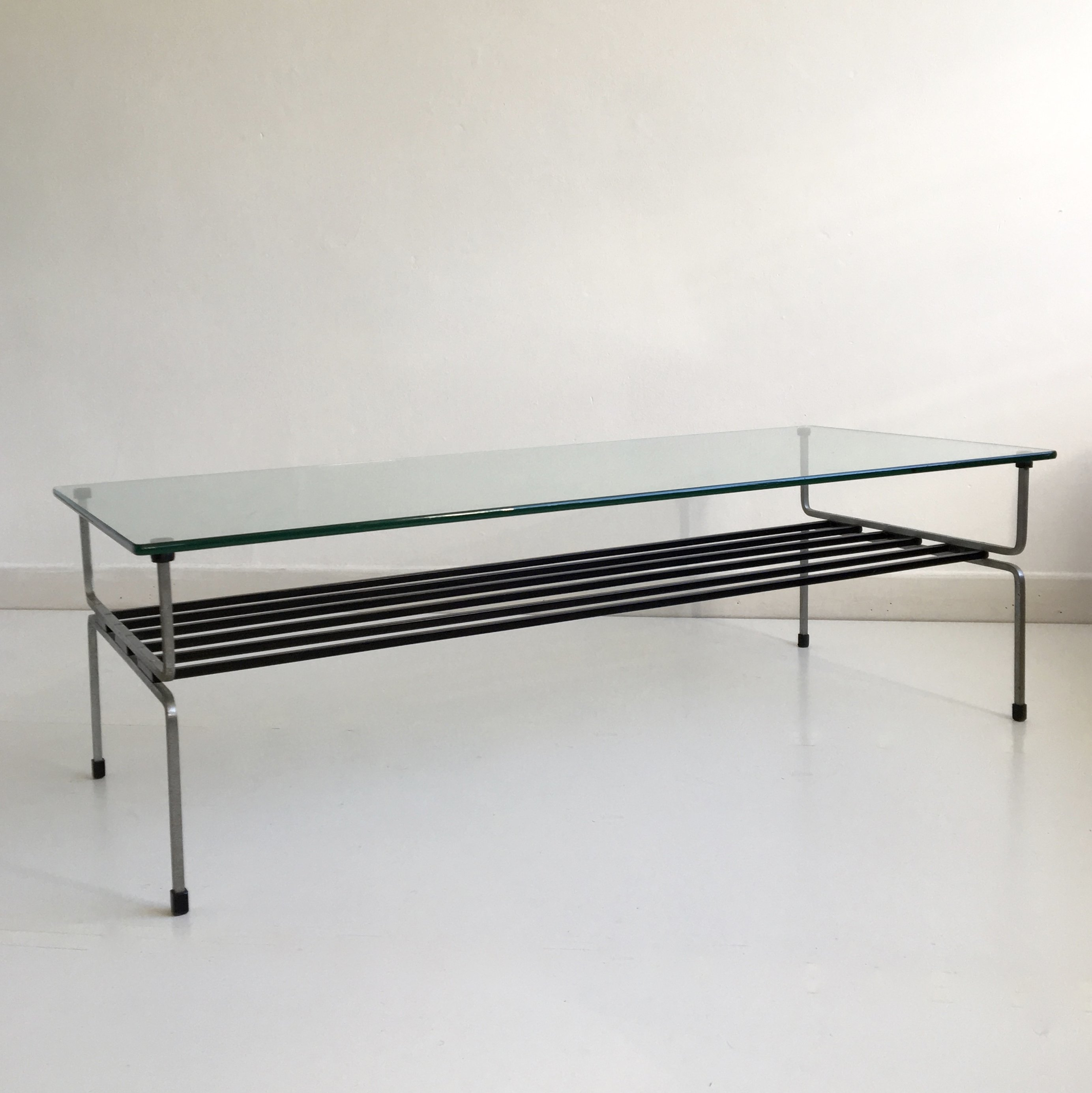Mid Century Glass Steel Coffee Table By William Plunkett England C 1960
