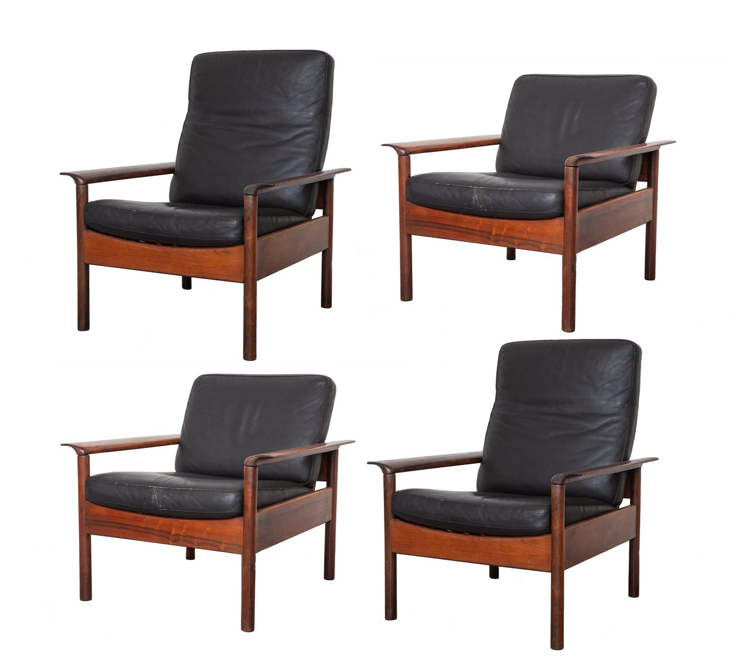 Rosewood & Black leather Livingroom set by Otto Hans Olsen, 1950s