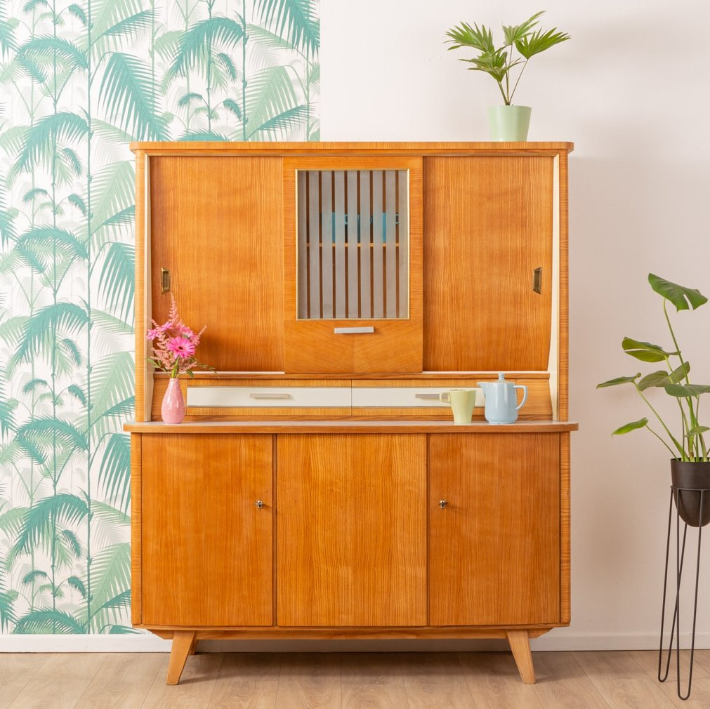Ash wood kitchen cabinet, Germany 1950s | #110858