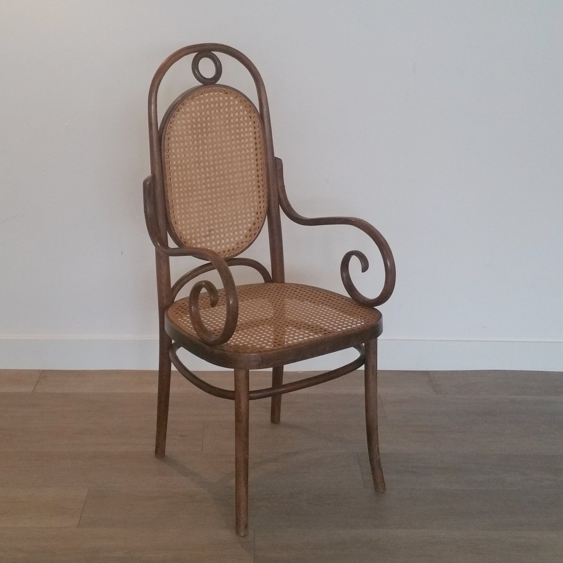 High Back Beech Rattan Chair No 17 From Fmg 1960s 111040