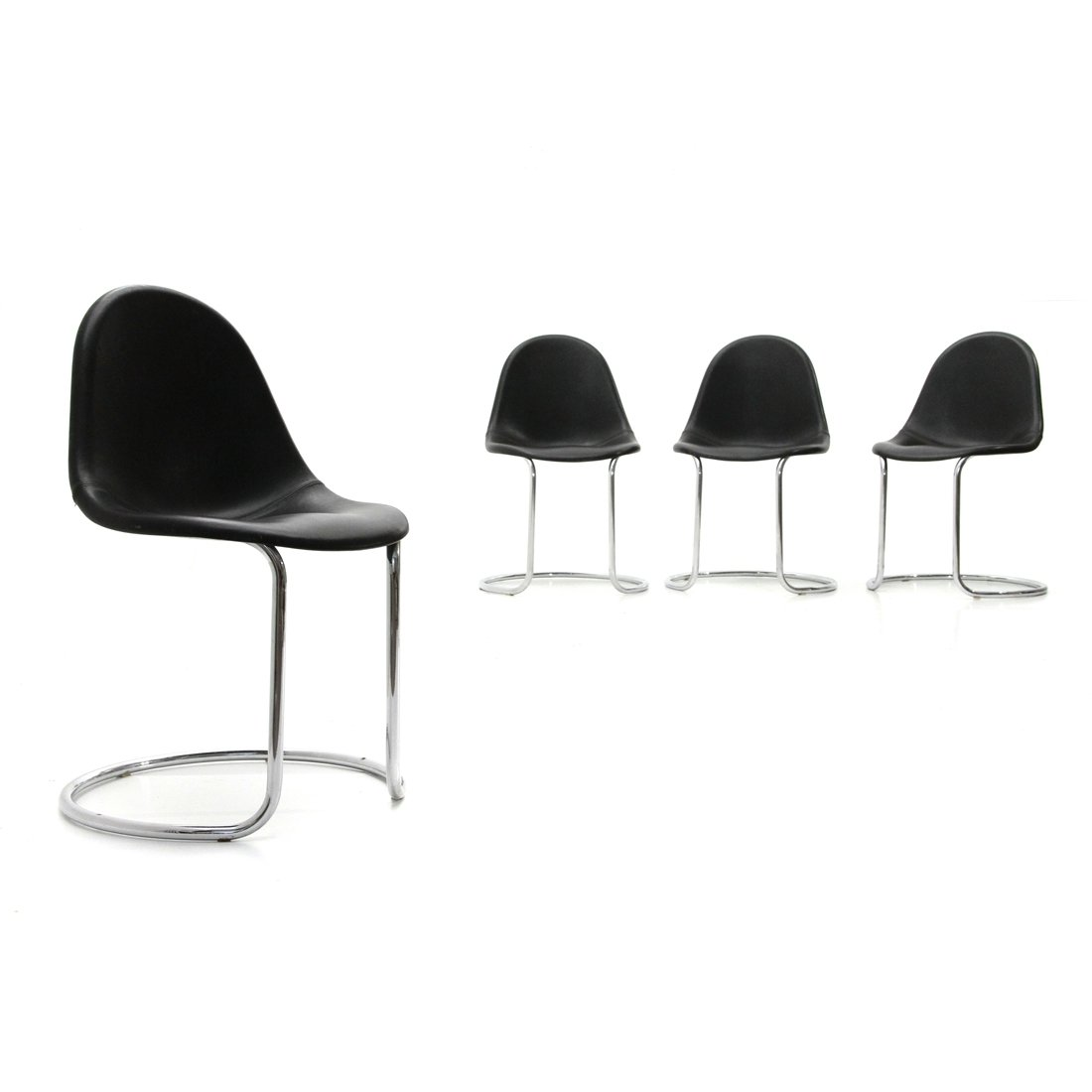 Image of: Set Of 4 Midcentury Modern Maia Leather Dining Chairs By Giotto Stoppino For Bernini 1970s 111971
