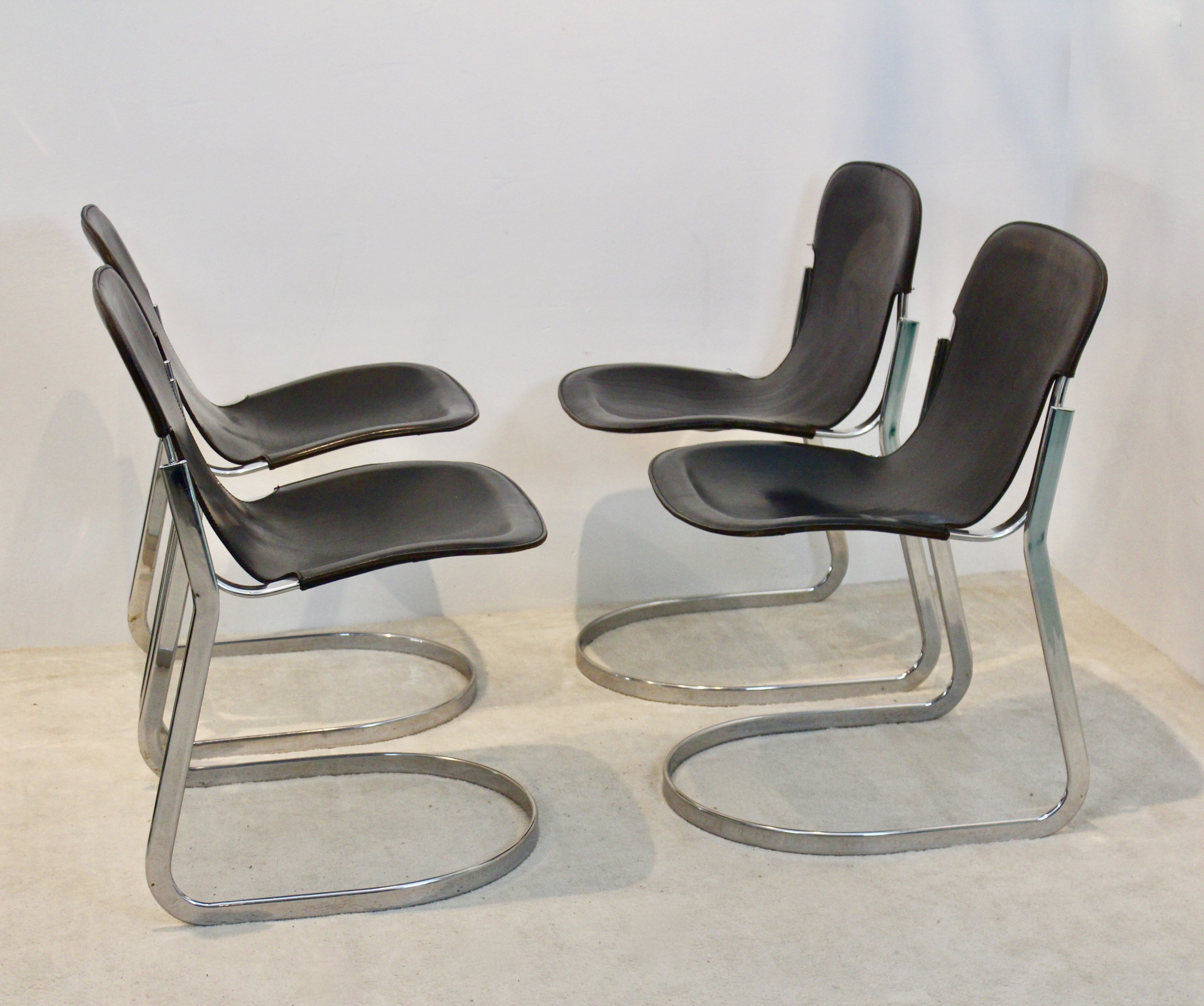 Groovy Set Of Four Black Saddle Leather Dining Chairs By Willy Rizzo For Cidue Ibusinesslaw Wood Chair Design Ideas Ibusinesslaworg