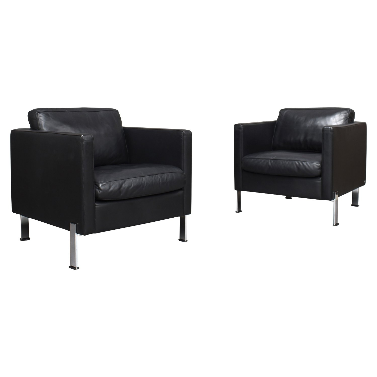 Magnificent Pair Of De Sede Ds 118 Lounge Chairs In Black Leather Pabps2019 Chair Design Images Pabps2019Com