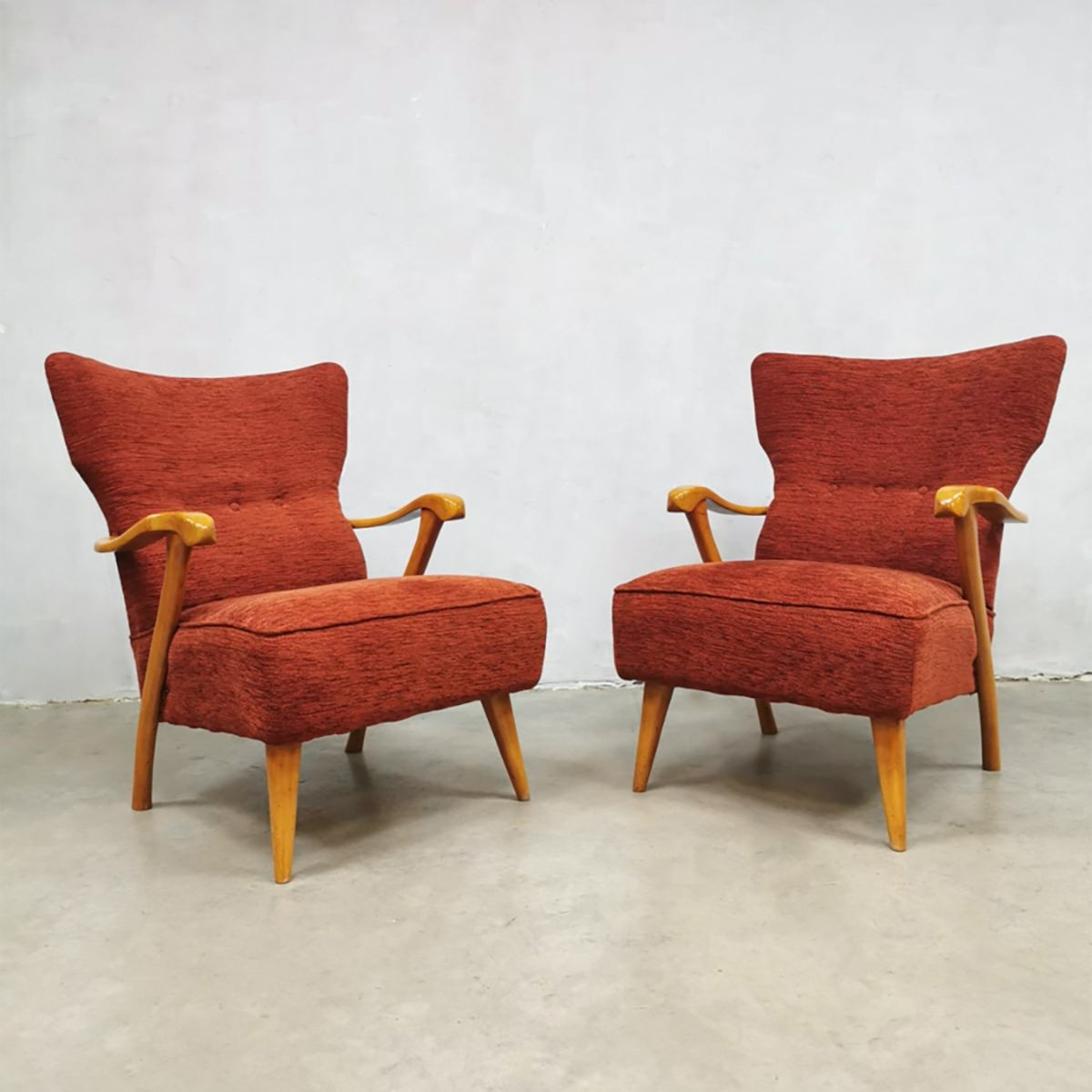 Set Of 2 Midcentury Modern Wingback Chairs By A A Patijn 112604