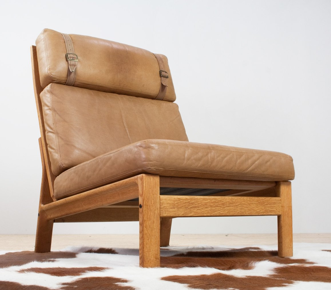 Remarkable High Back Leather Oak Lounge Chair By Komfort Denmark Bralicious Painted Fabric Chair Ideas Braliciousco